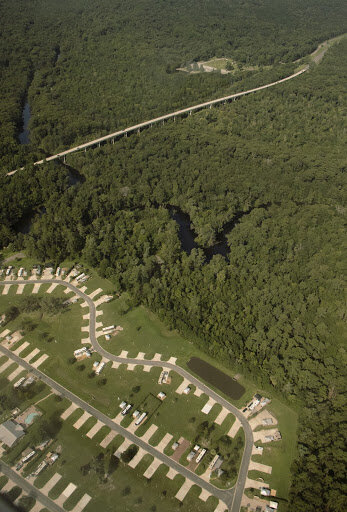 An RV resort built only a few hundred feet from the banks of the Ocklawaha River