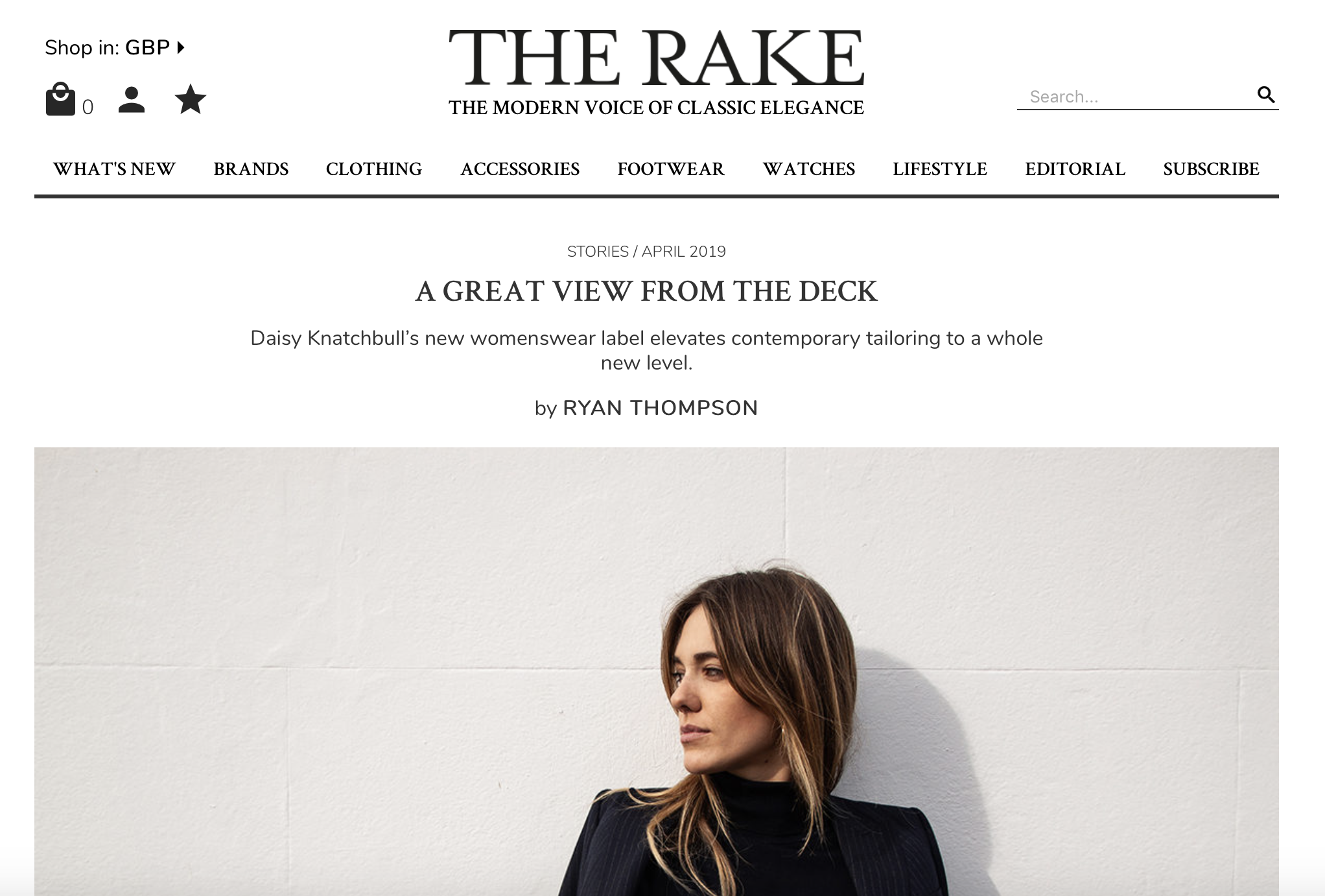 The Rake:A great view from The Deck - This month we witnessed a new player join the lasting ranks of women who broke the mould and turned to the suit to represent themselves in their most elegant, most stylish and most evocative manner. Women like Charlotte Rampling, Diane Keaton, Marlene Dietrich, and now, there's The Deck.