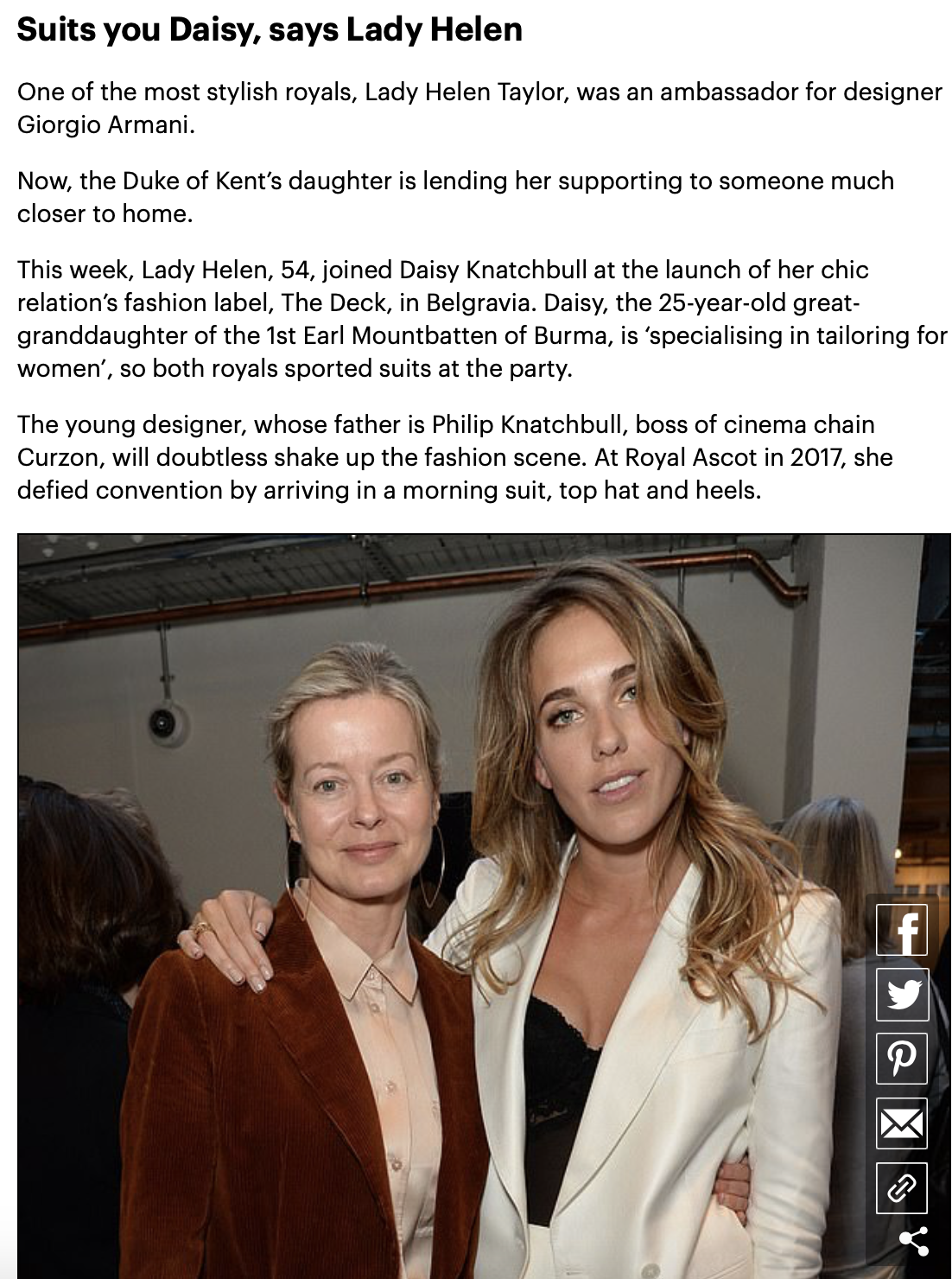 Daily Mail:Chic fashion label The Deck launches - One of the most stylish royals, Lady Helen Taylor, was an ambassador for Giorgio Armani. Now the Duke of Kent's daughter is lending her support to someone much closer to home.