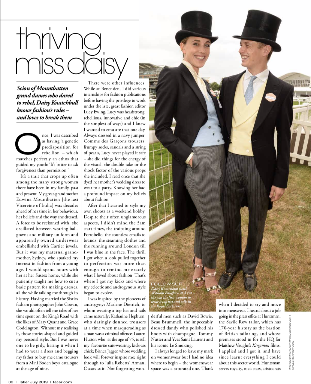 Tatler: Thriving Miss Daisy - How the Founder of The Deck is making strides beyond Savile Row. Daisy Knatchbull knows fashion's rules - and loves to break them