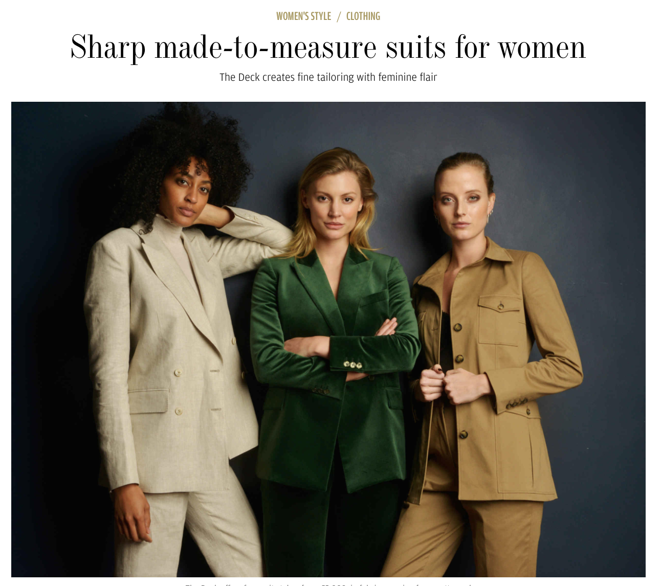"""Financial Times How to Spend It: Sharp suits for women - On the subject of why it took until 2016 for a woman to wear trousers in Ascot's Royal Enclosure, Daisy Knatchbull sighs and says: """"I guess rules are rules."""" Yet Knatchbull is the woman who first bucked the tradition and wore a morning suit to the Queen's favourite horse race. """"The reaction from women was extraordinary; they clapped and cheered""""…"""