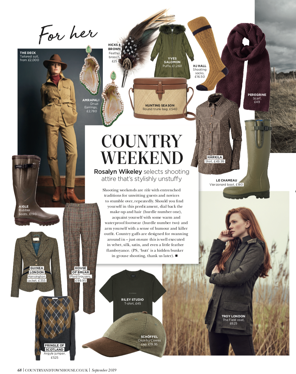 Country & Townhouse: Country Weekend - Rosalyn Wikeley selects shooting attire that's stylishly unstuffy…