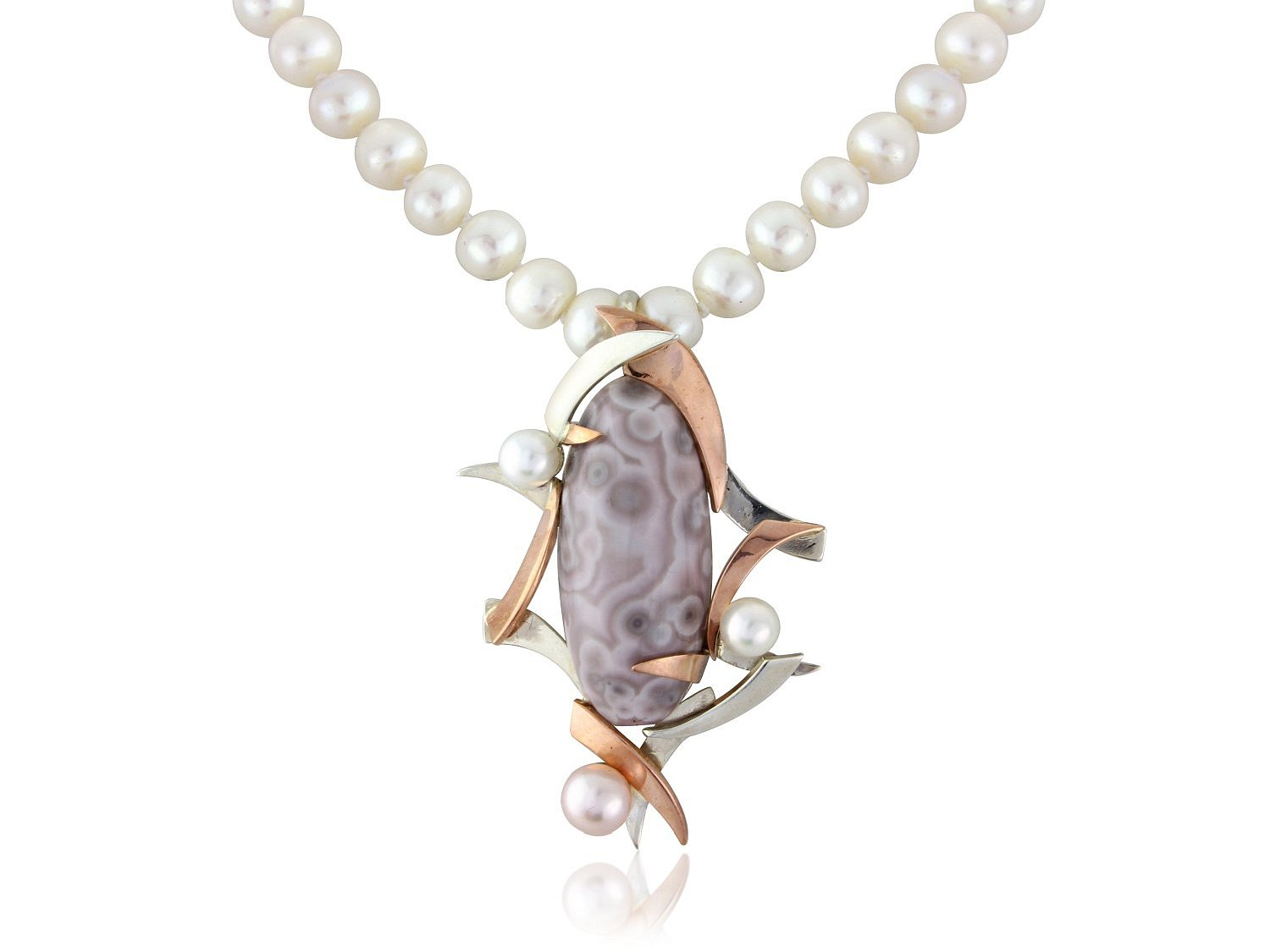 crazy lace agate and pearls in silver and rose gold