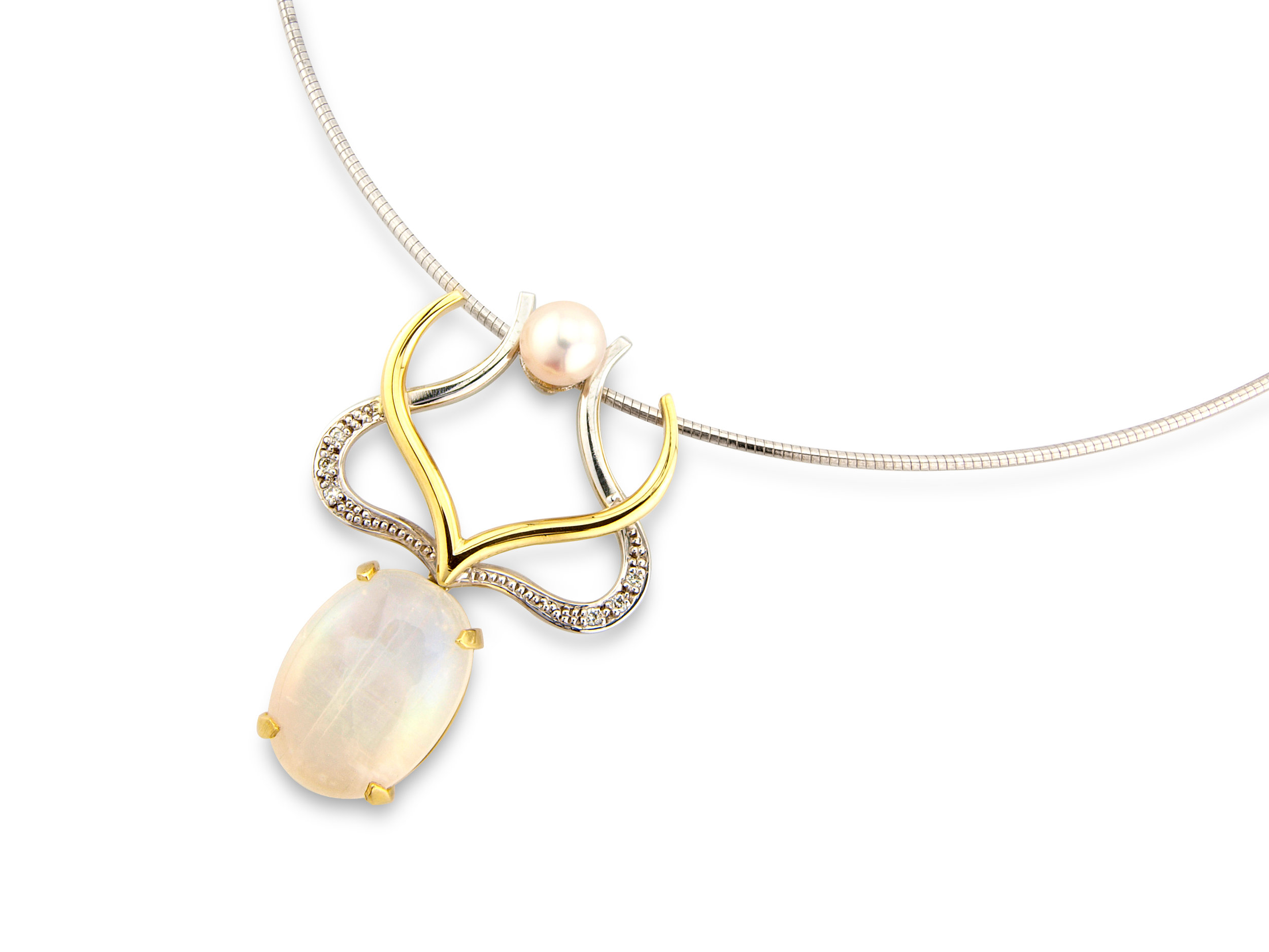 Rainbow moonstone ,diamond and akoya pearl in 18ct yellow and white gold