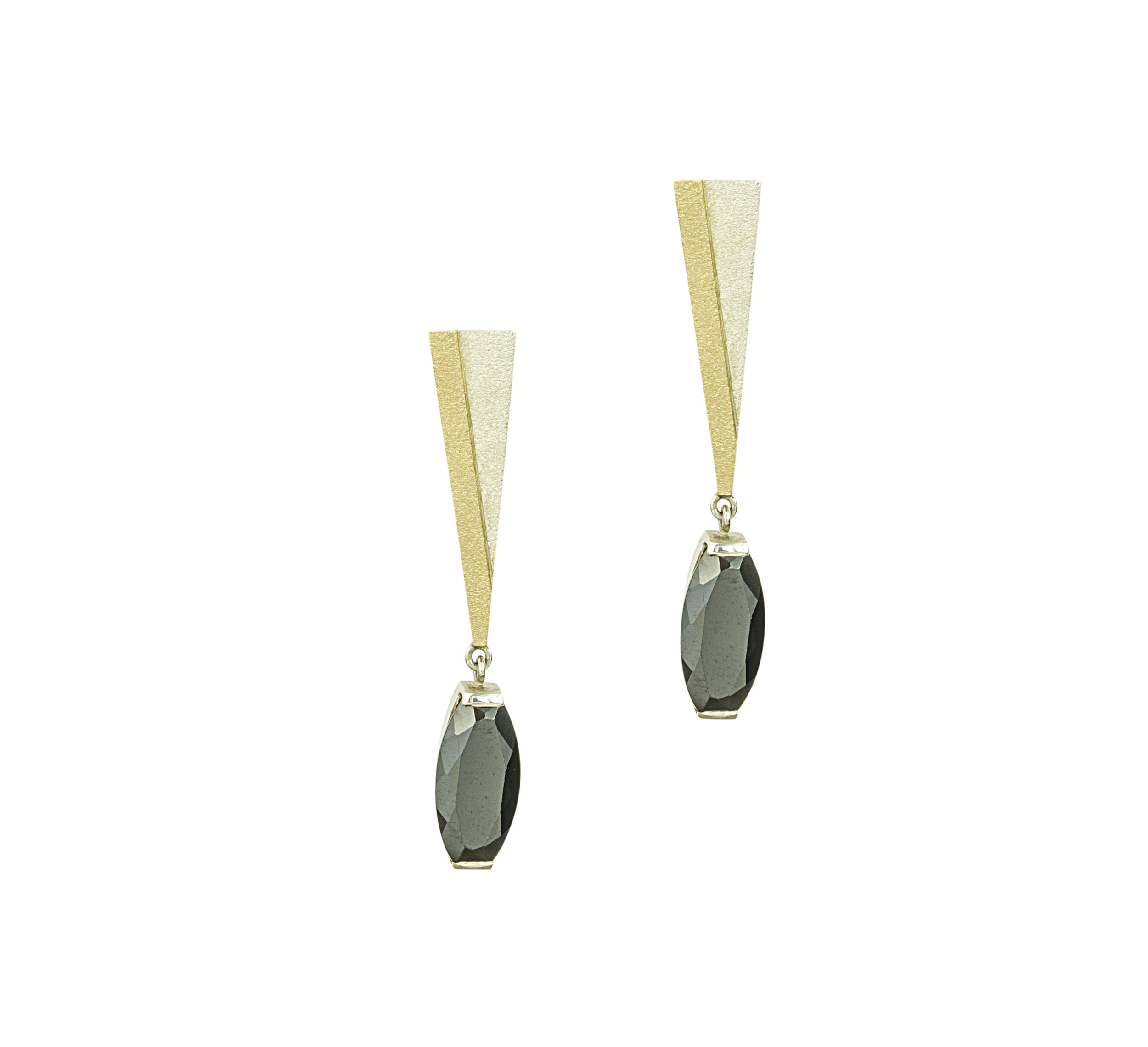 Silver and gold drop earrings with black spinels very classy