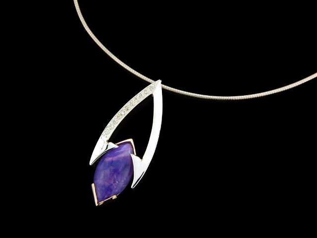 Silver and gold amethyst and diamond pendant simple design with a gothic edge
