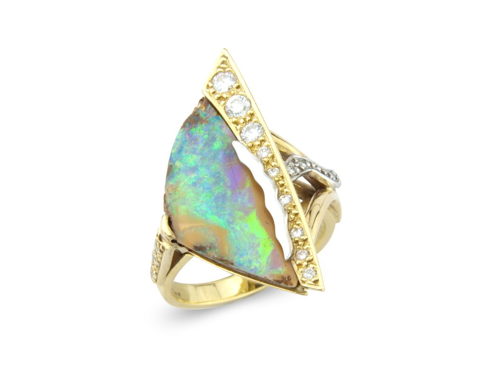 Australian boulder opal and diamonds mounted in 18ct