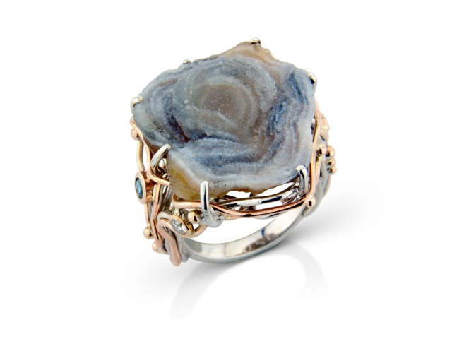 Rose chalcedony druzy with diamonds and blue topaz in silver yellow and rose gold
