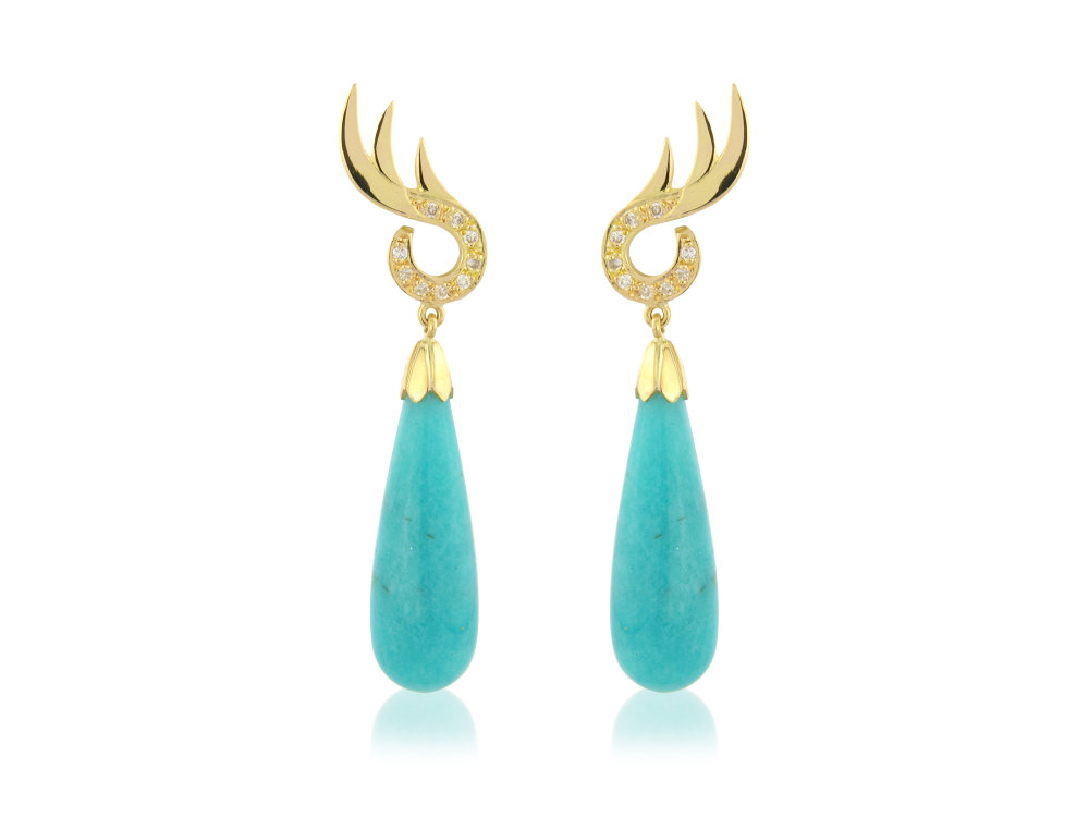 Stunning amazonite and diamond earrings very eye catching indeed all in 18ct yellow