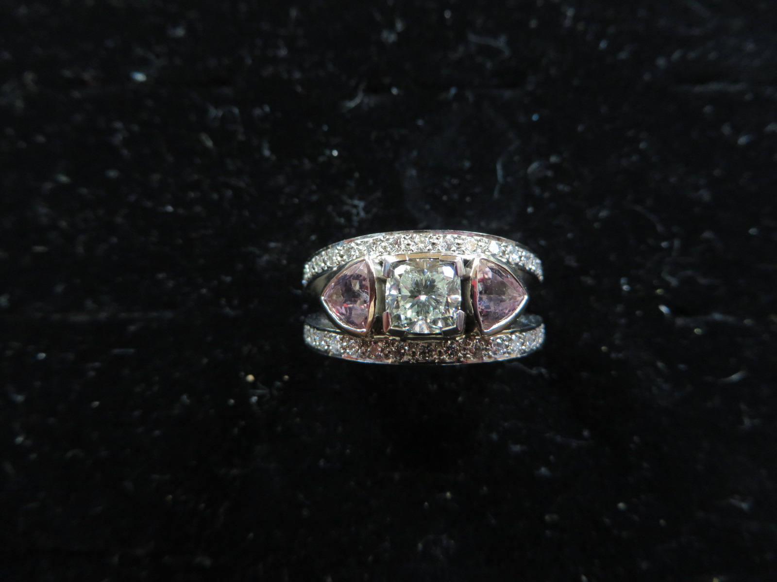 Morganite and cushion cut diamond in 18ct white and rose gold engagement ring alternative for this lady she only had the one ring and it is beautiful.