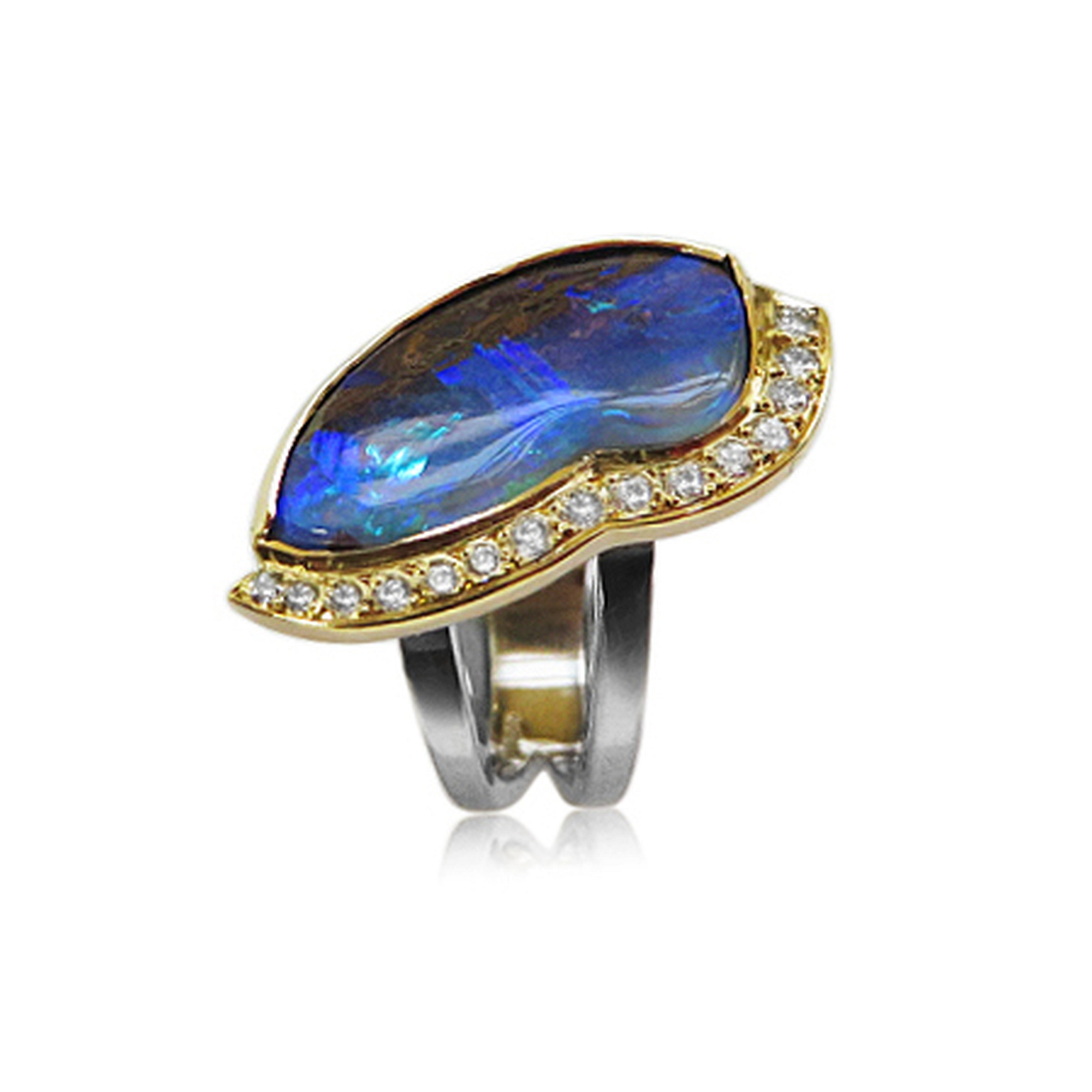 This is a stunning ring all 18ct yellow and white gold with F colour vvs diamonds to accent the stunning boulder opal from Australia one of my favourites to design supplied and made by Quo Vadis Jewellery.