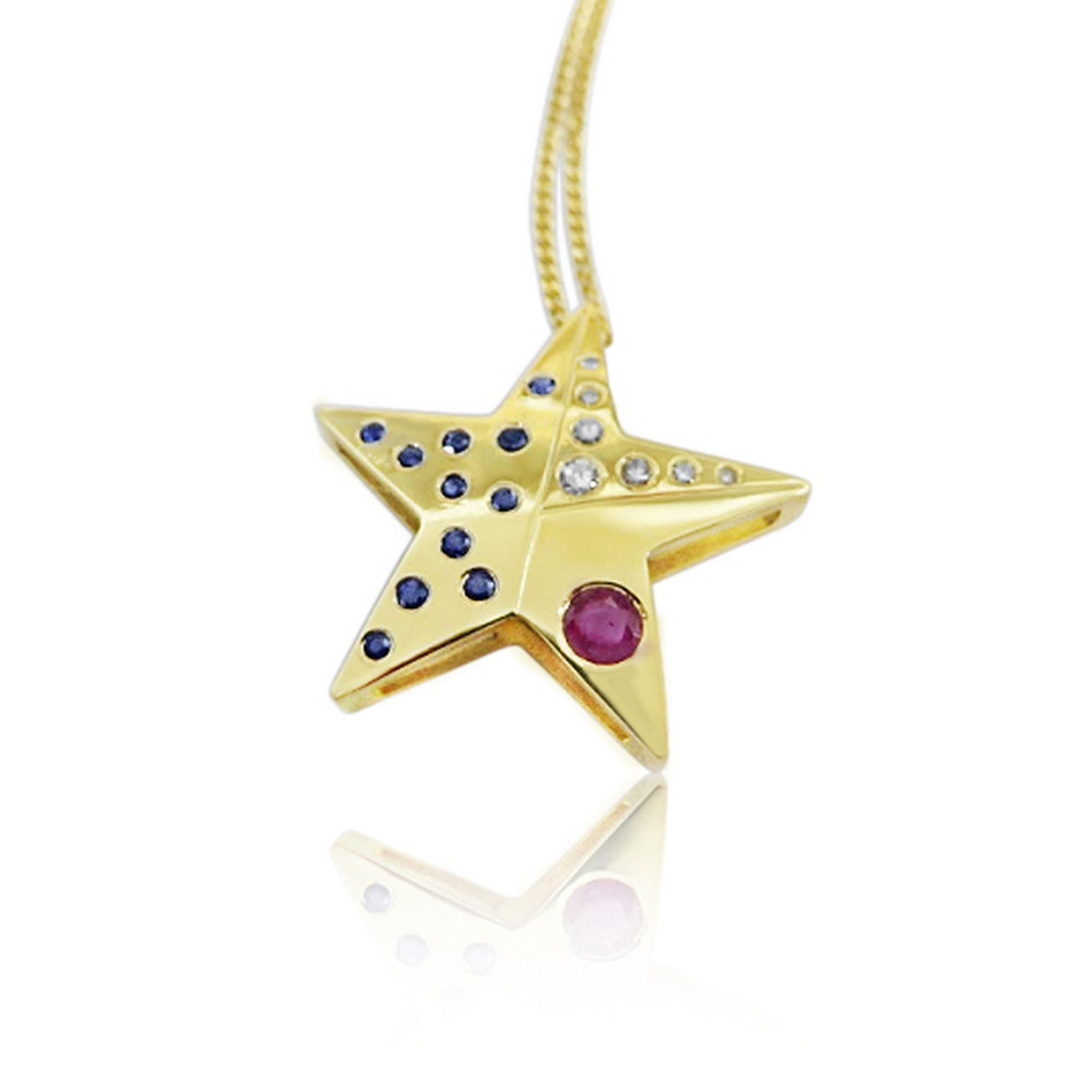 Texas star design with clients own stones 18ct yellow gold