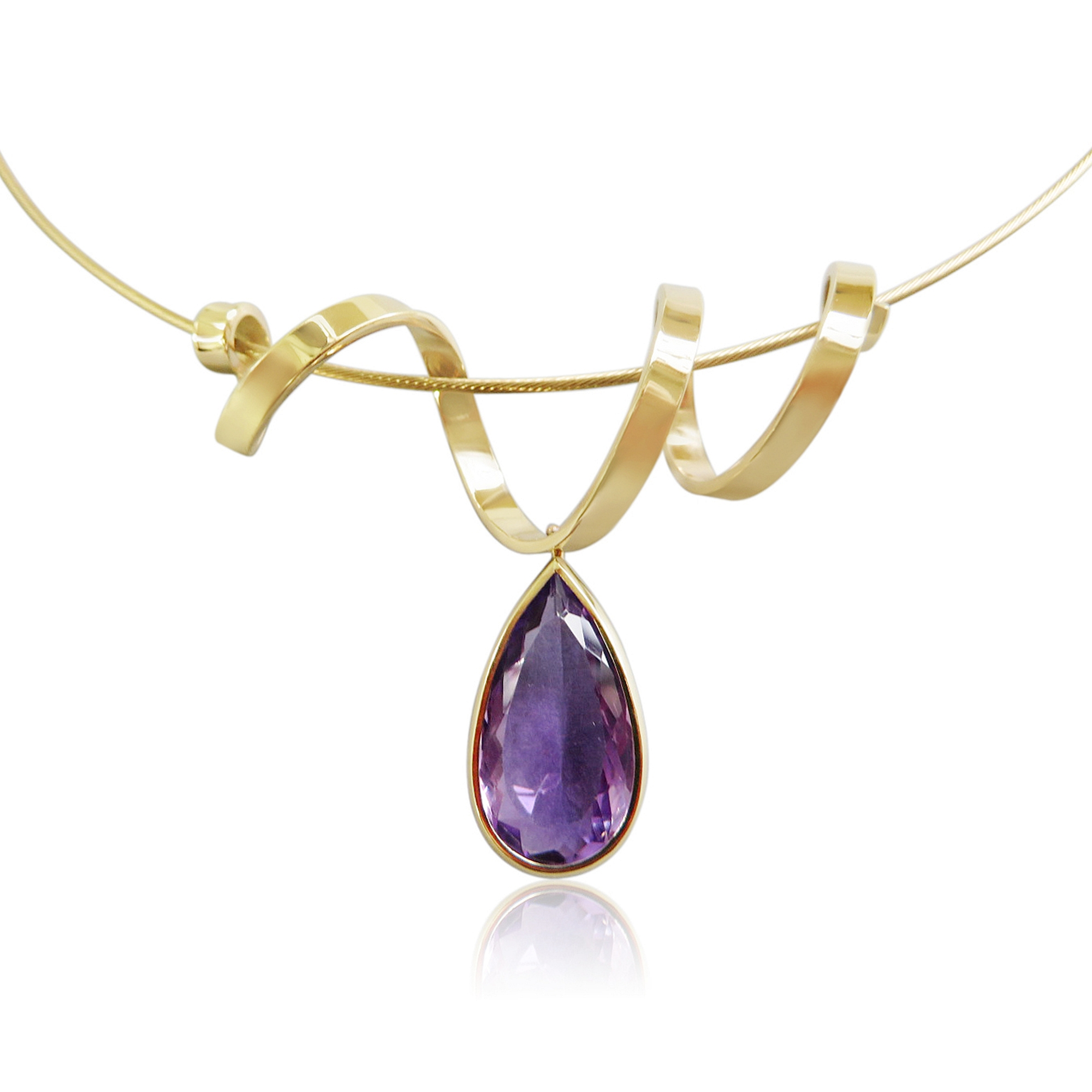 Ribbon of solid gold flowed over a gold neckwire, with a free moving amethyst pear drop set the stone setting can be worn either way ,the stone is as pretty from the back so why not ,this sold very first showing gotta be quick!