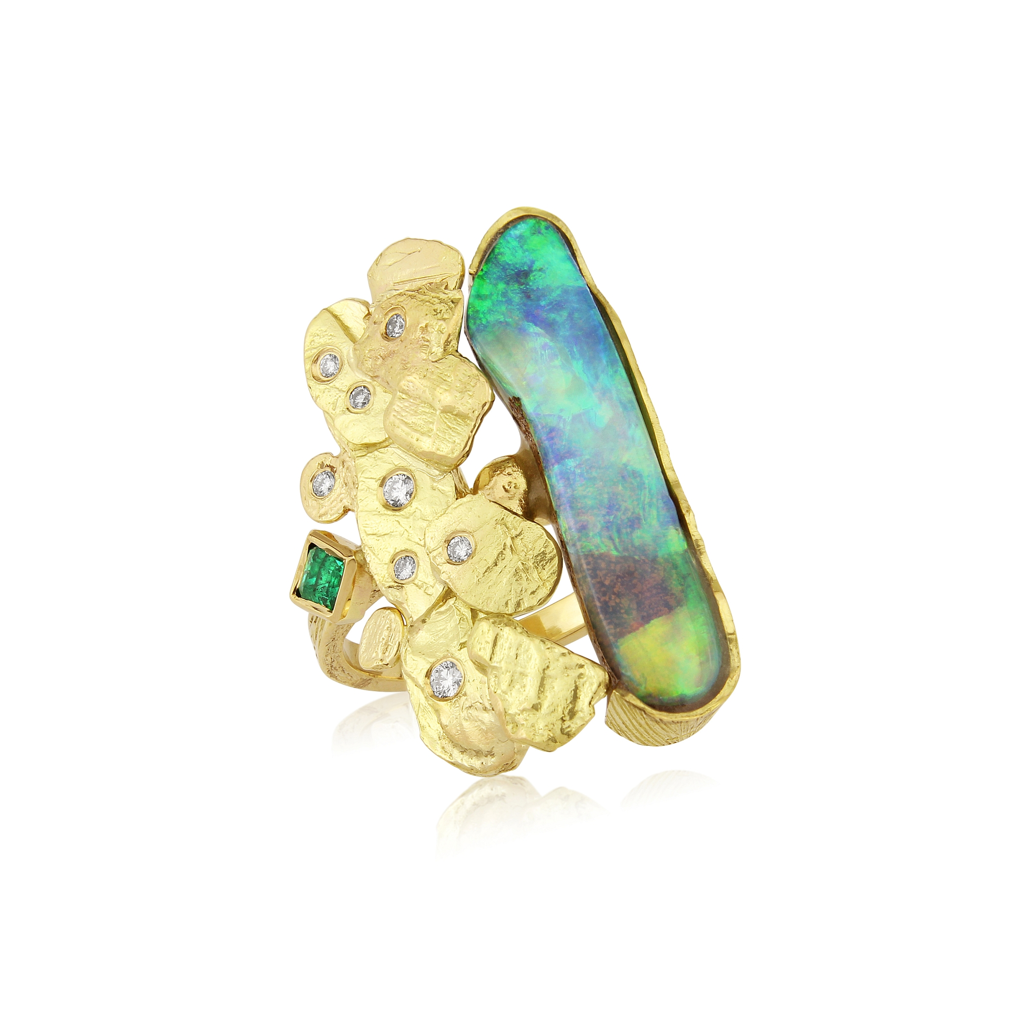 Australian boulder opal dress ring mounted in 18ct gold and set with Colombian emerald and diamonds.