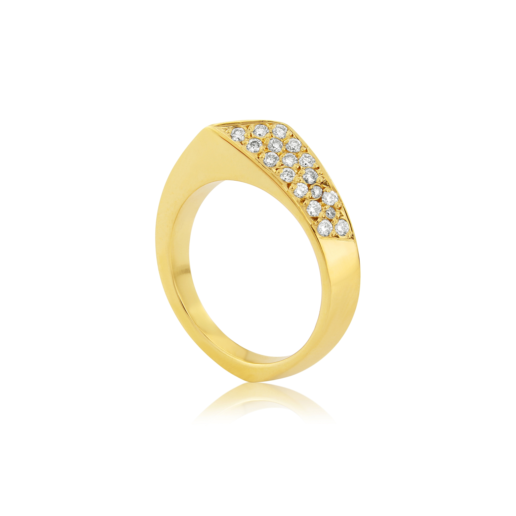 Fashion dress ring with chamfered edges and face mounted in 9ct gold and set with diamonds.