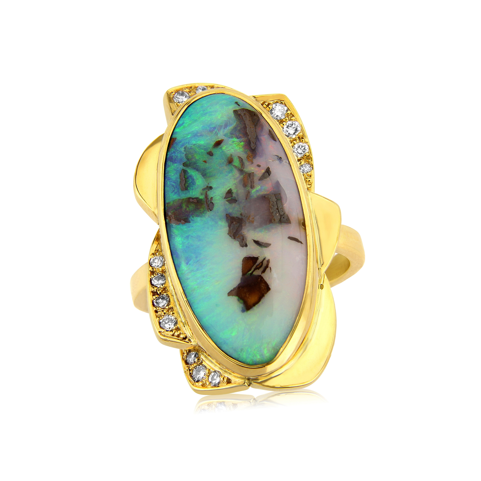 Stunning Australian Opal dress ring with diamonds mounted in 18ct gold. Designed and hand made by QVJ.