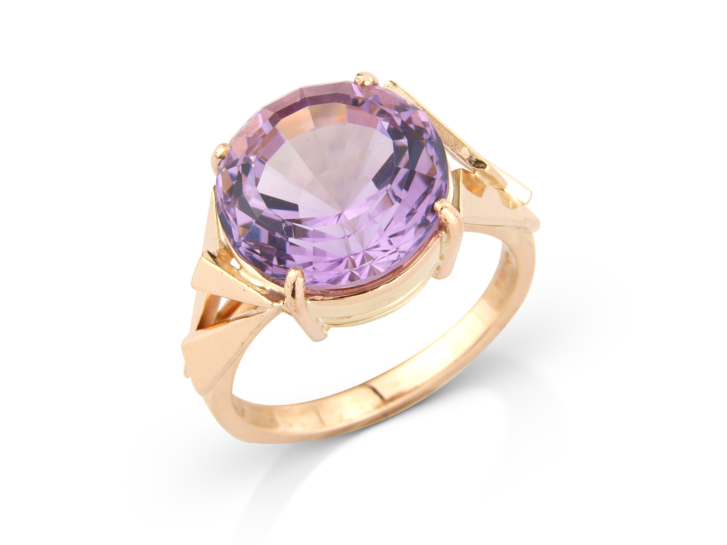 Precision cut Amethyst dress ring designed and hand made by QVJ in 9ct gold.
