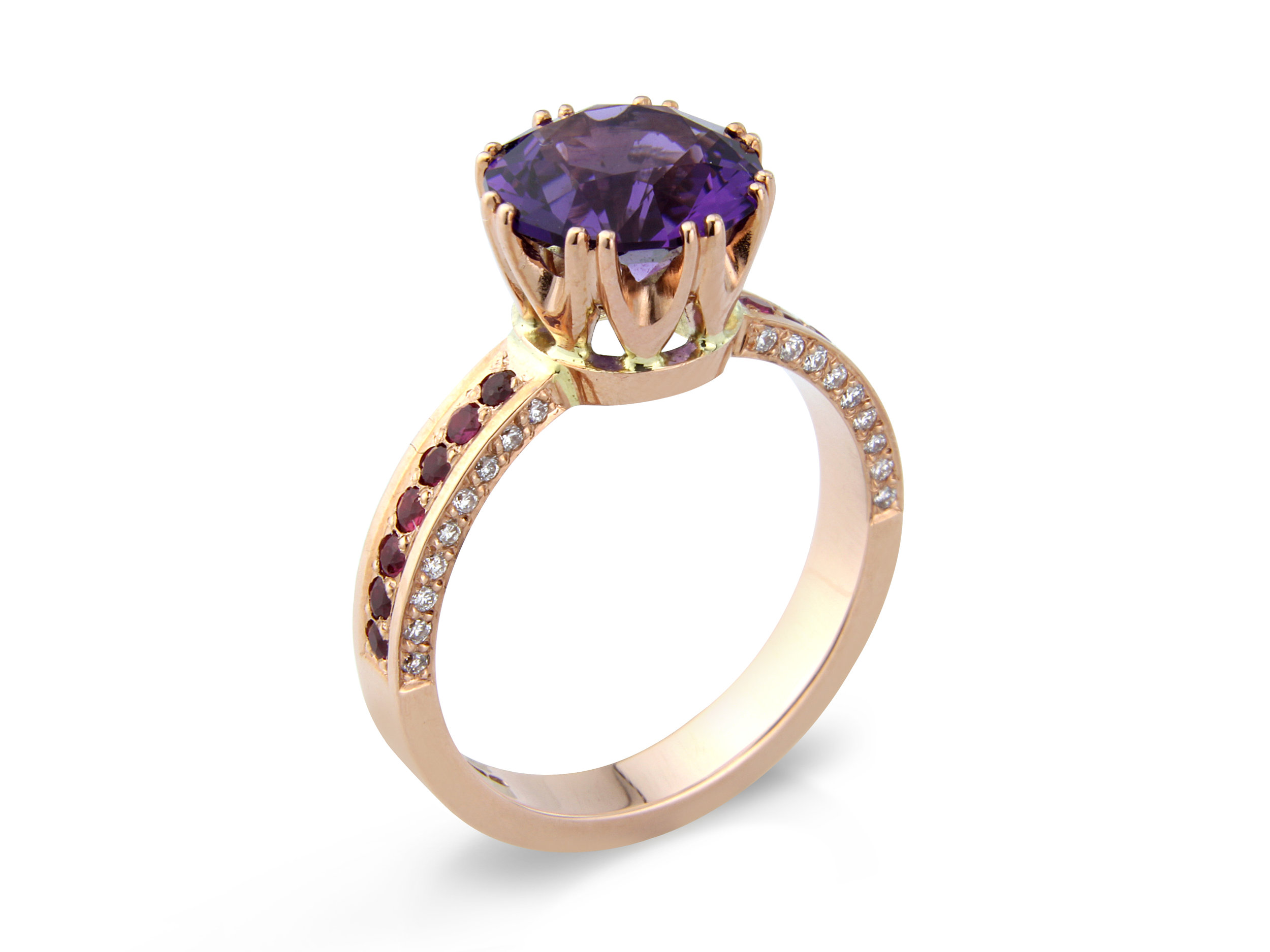 Top quality Amethyst set with diamonds and rubies in 9ct rose gold designed and hand made by QVJ.