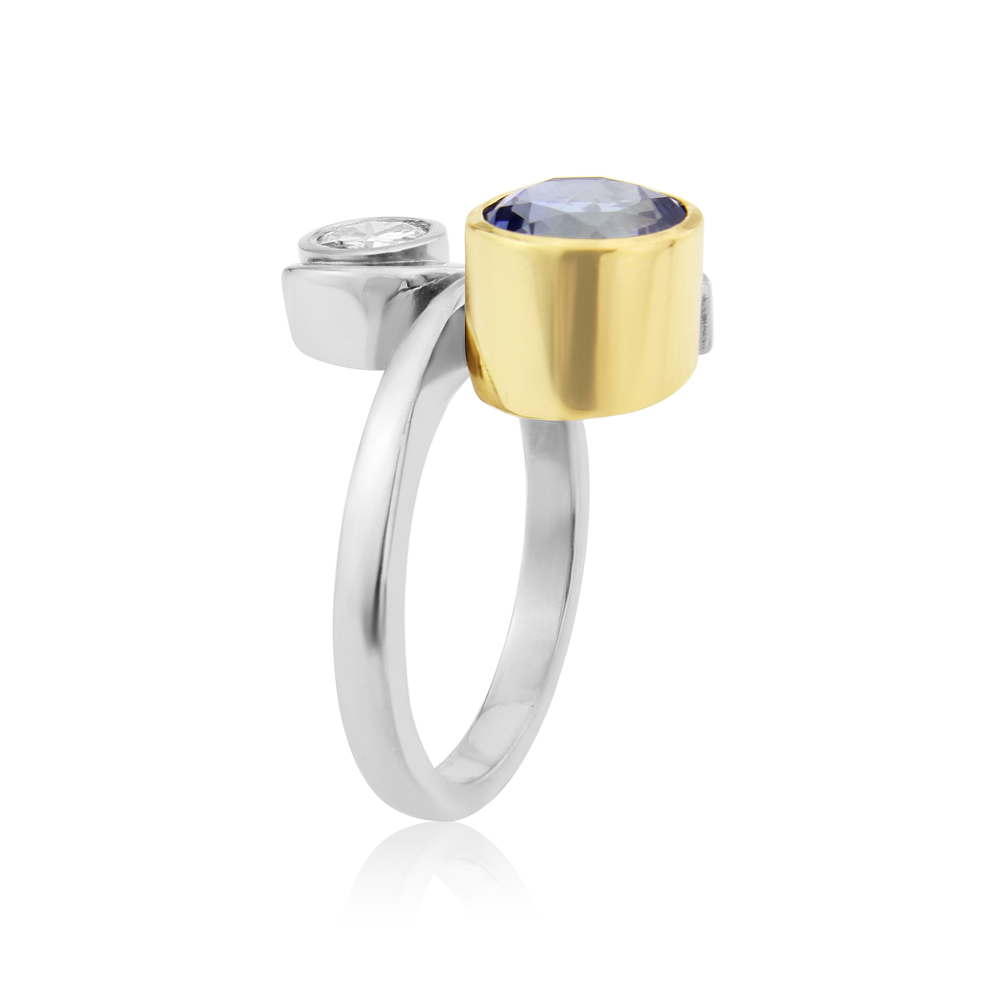 Side aspect of Tanzanite ring above.  AVAILABLE