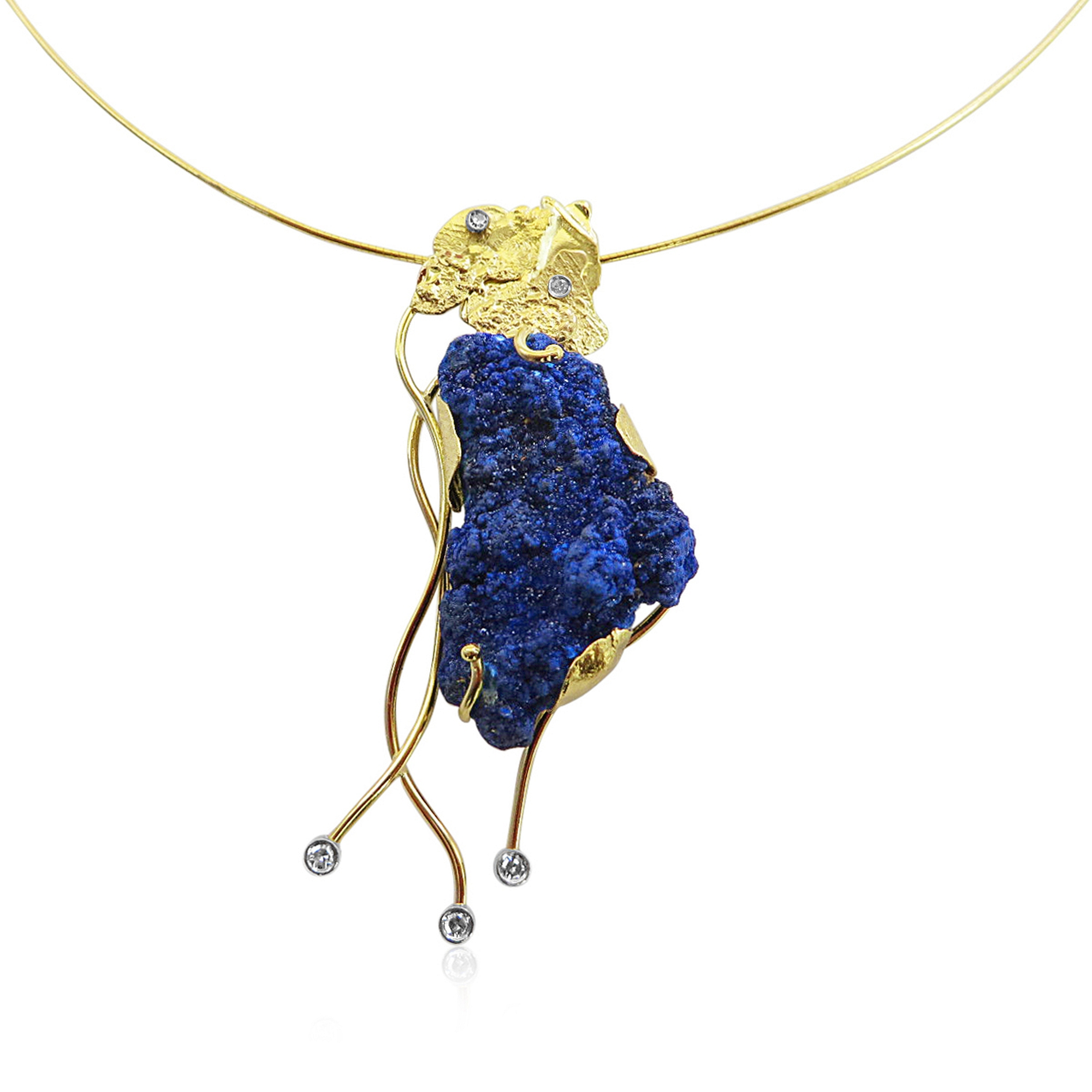Unusual Azurite pendant with diamonds all hand made in 18ct Gold.