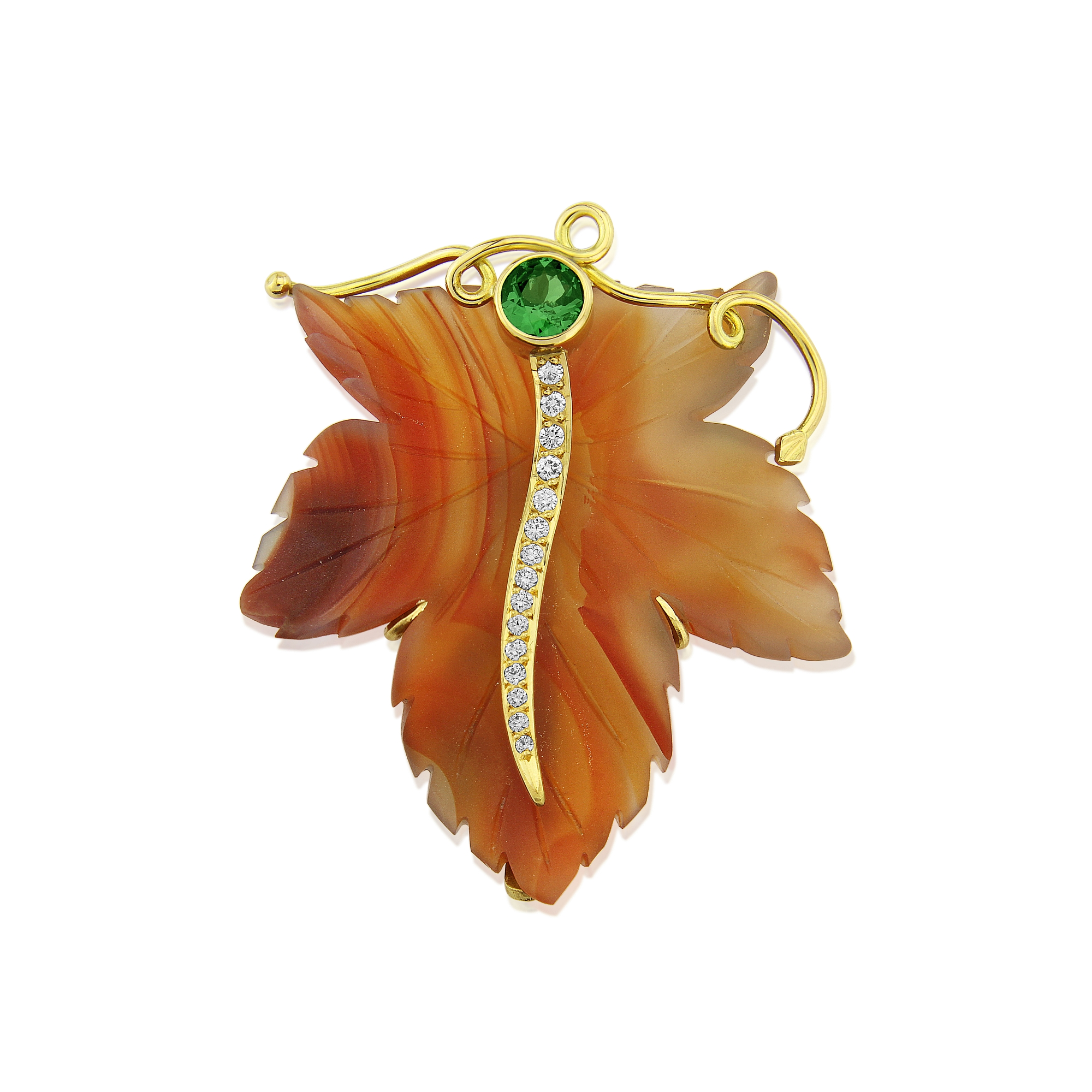 Top quality carved Agate leaf Brooch hand made in 18ct Gold and set with diamonds and a Tsavorite garnet,beautiful colours for the Autumn.