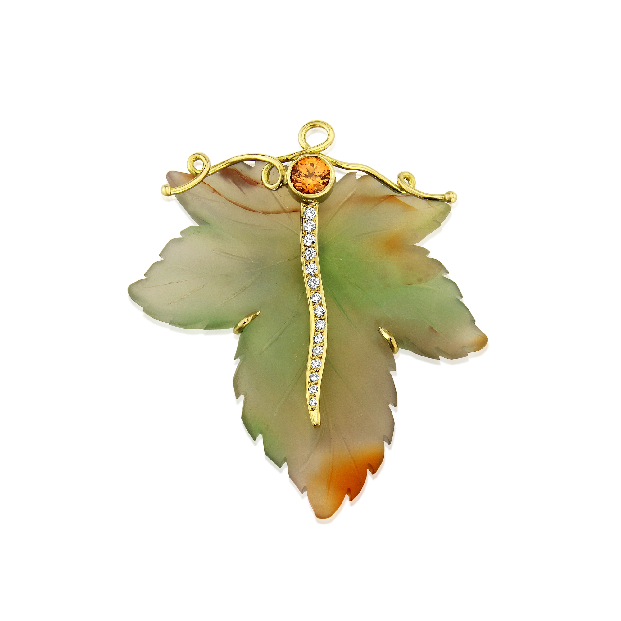 Top quality carved Agate leaf brooch hand made in 18ct Gold and set with diamonds and an orange Sapphire.