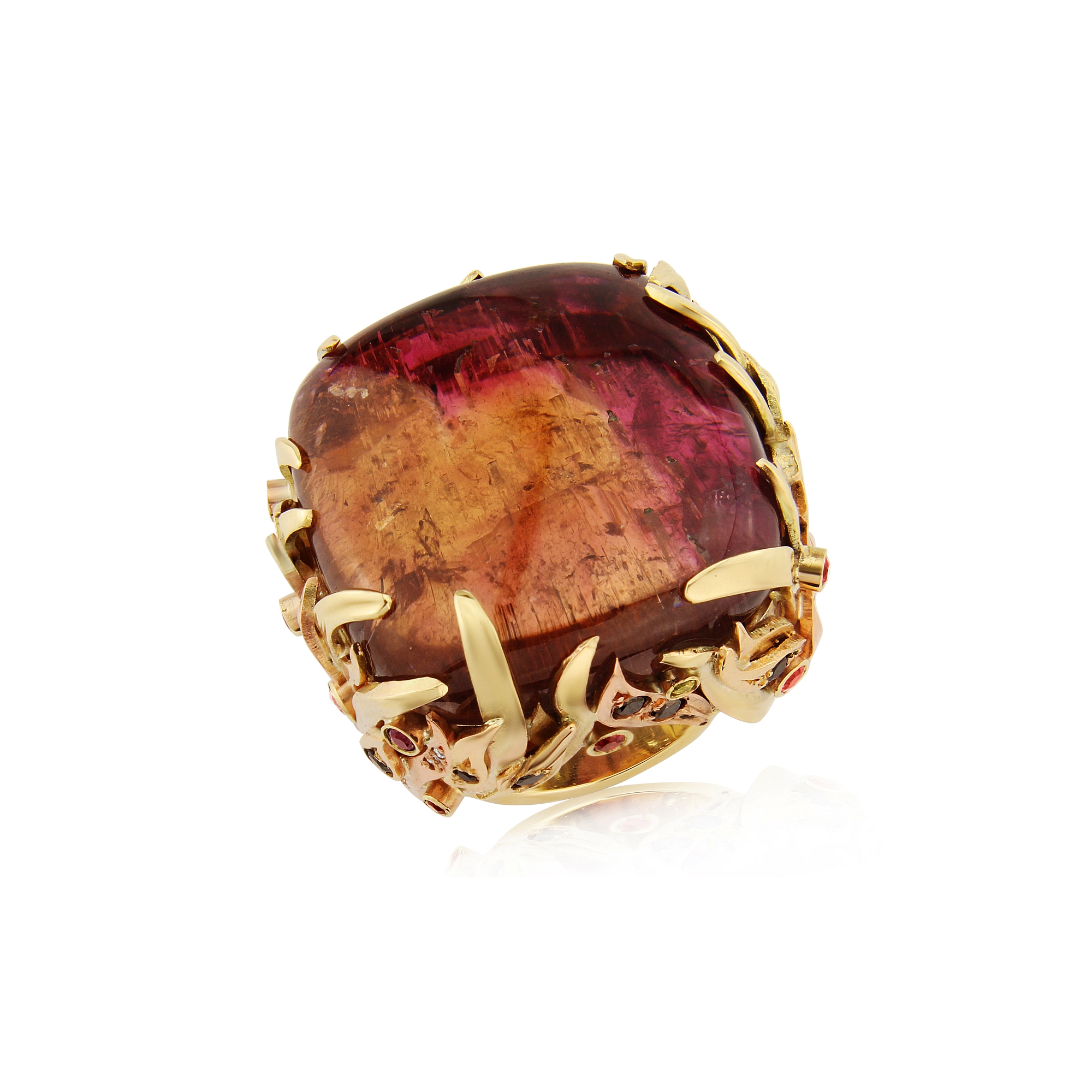 Super Fiery red/orange Tourmaline set in a large gold dress ring surrounded by coloured Sapphires, black and white Diamonds designed and hand made by Quo Vadis Jewellery.
