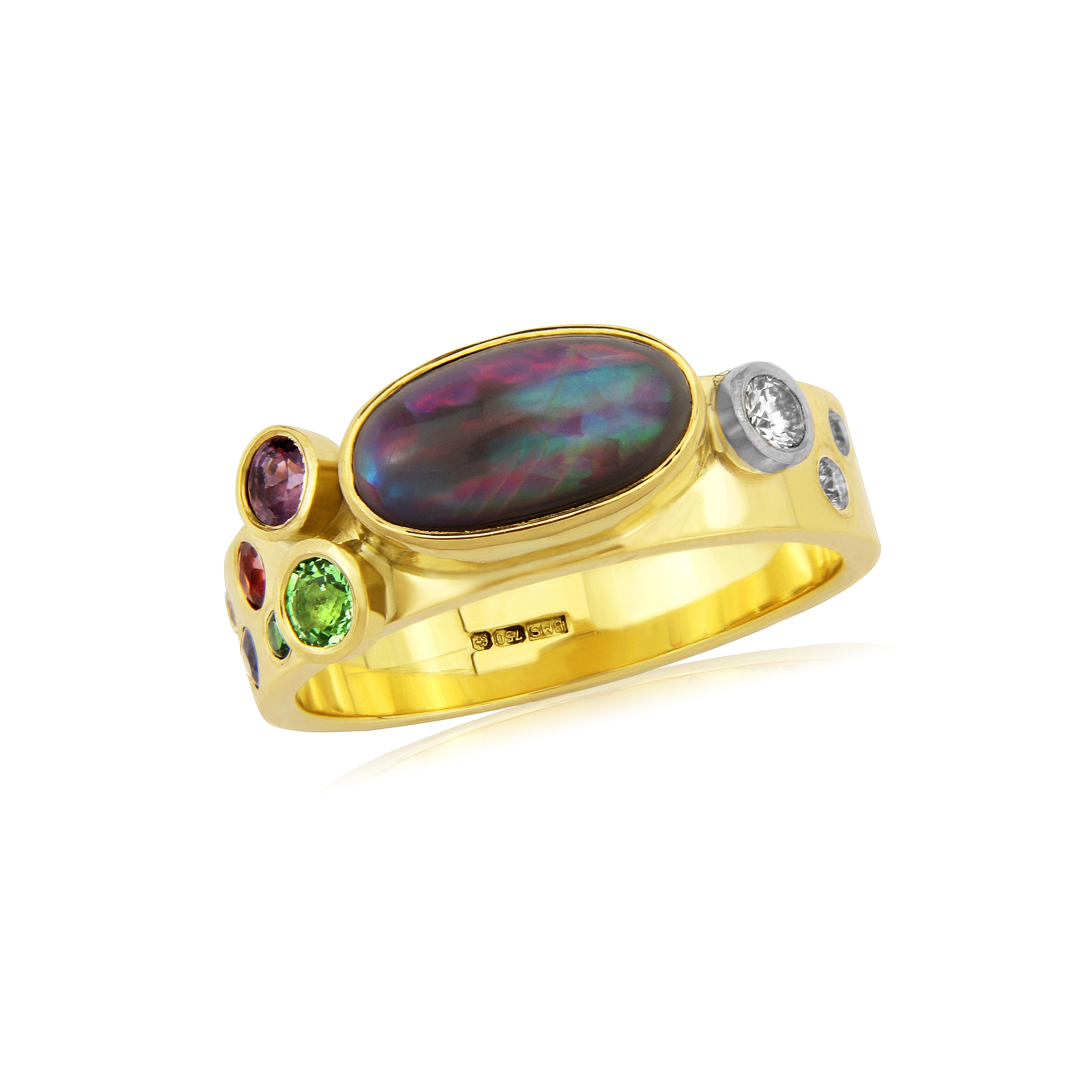 Solid Australian black Opal with Diamonds Sapphires and Tsavorite garnet in 18ct gold in a band style ring simple to wear and can be beside a wedding ring or other .