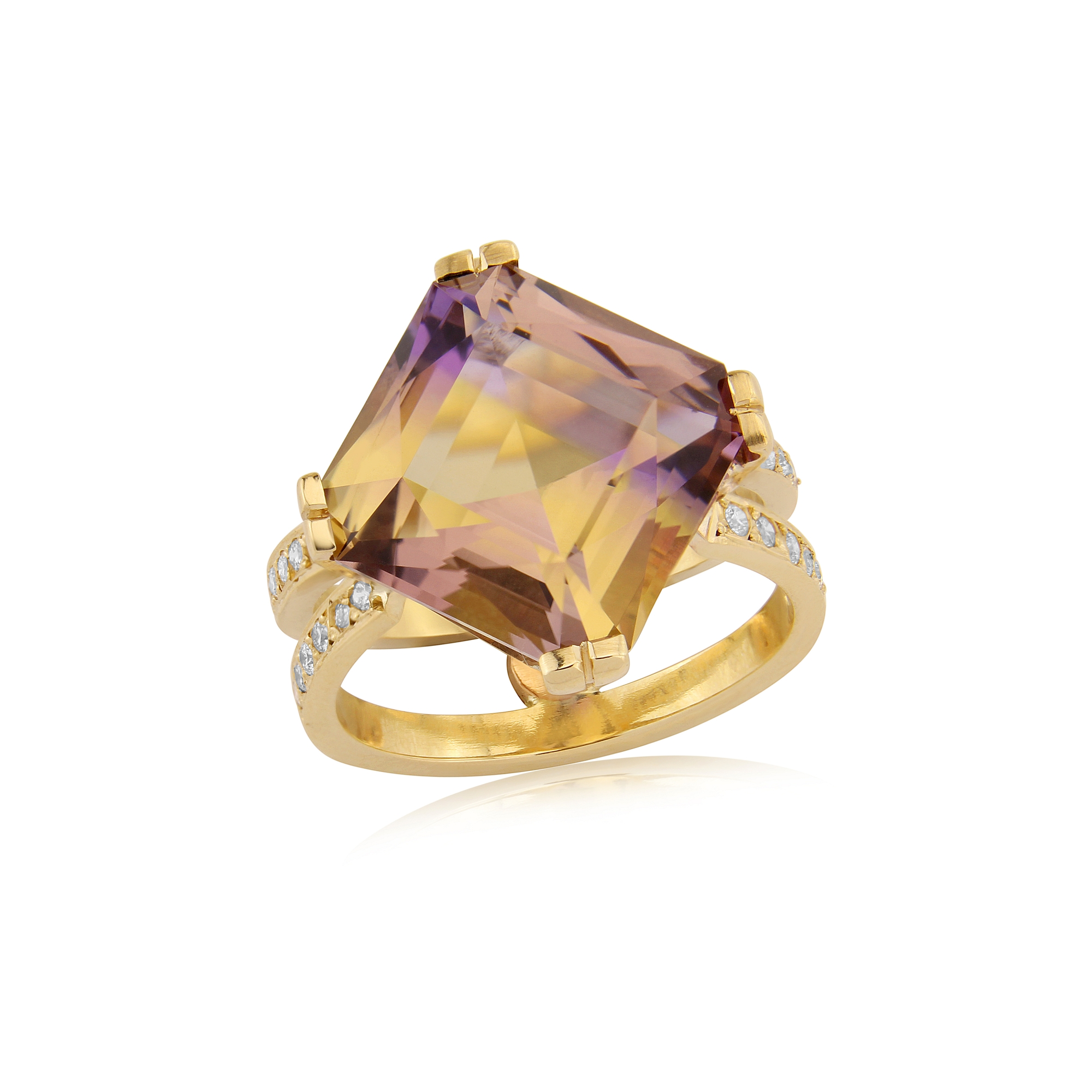 Beautiful Ametrine and Diamond dress ring hand made in Gold with a feature Diamond set at the back of the ring.