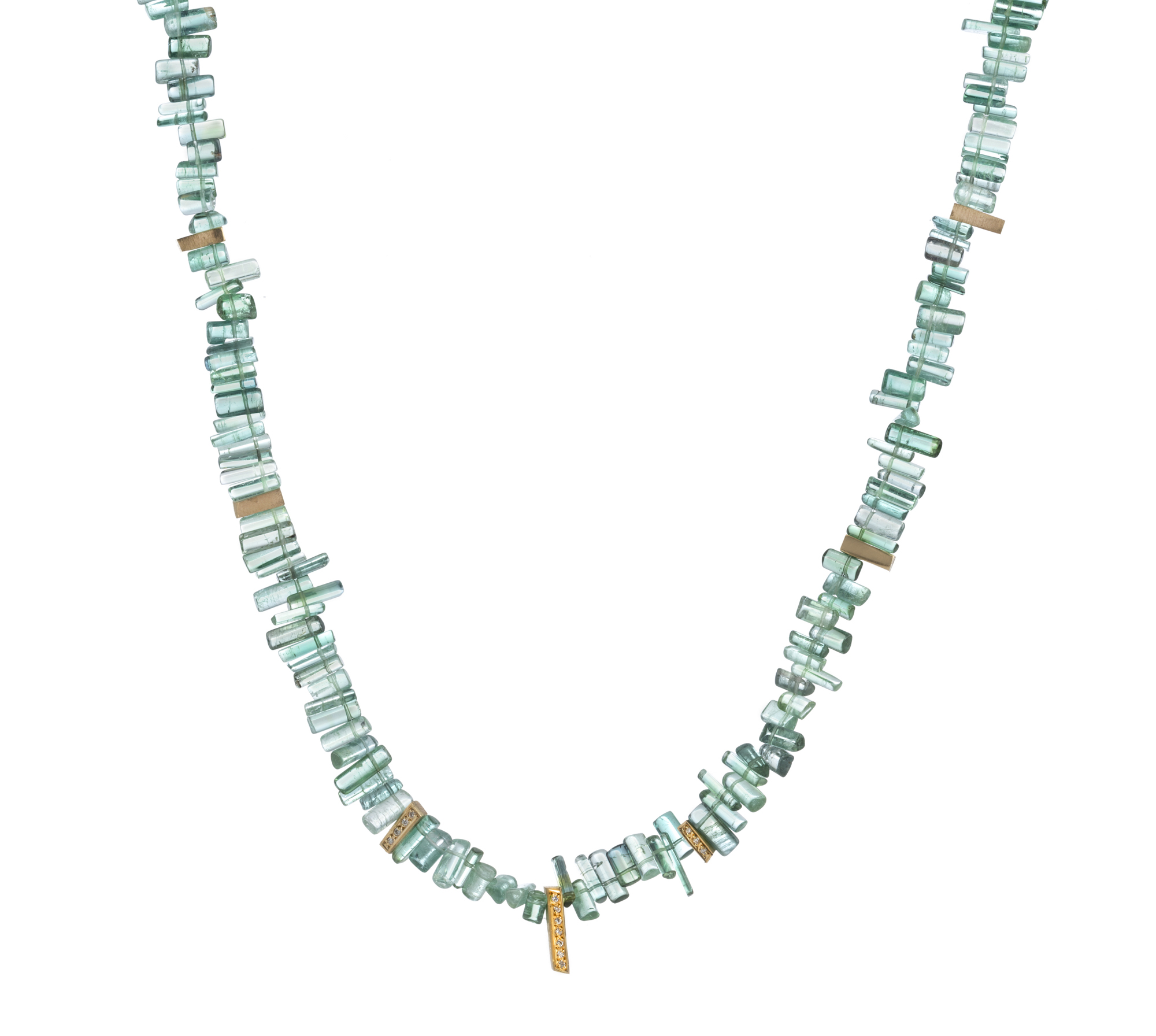 35.8 carats of High quality Tourmaline necklace with 18ct gold stations set with Diamonds.