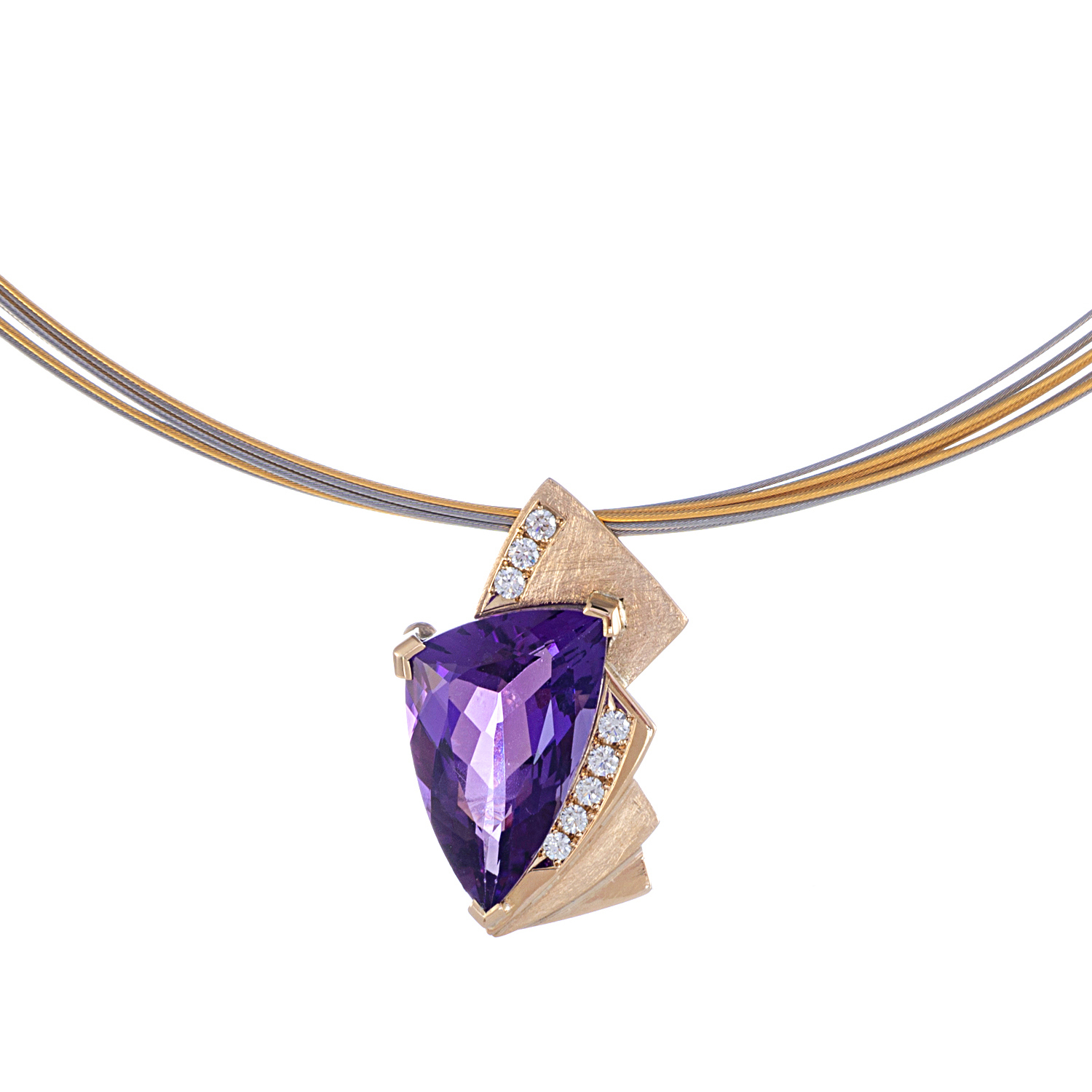 Amethyst and Diamond pendant set into 9ct gold. This is a beautiful piece the stone has a natural fingerprint with in and the colour is amazing in life    AVAILABLE