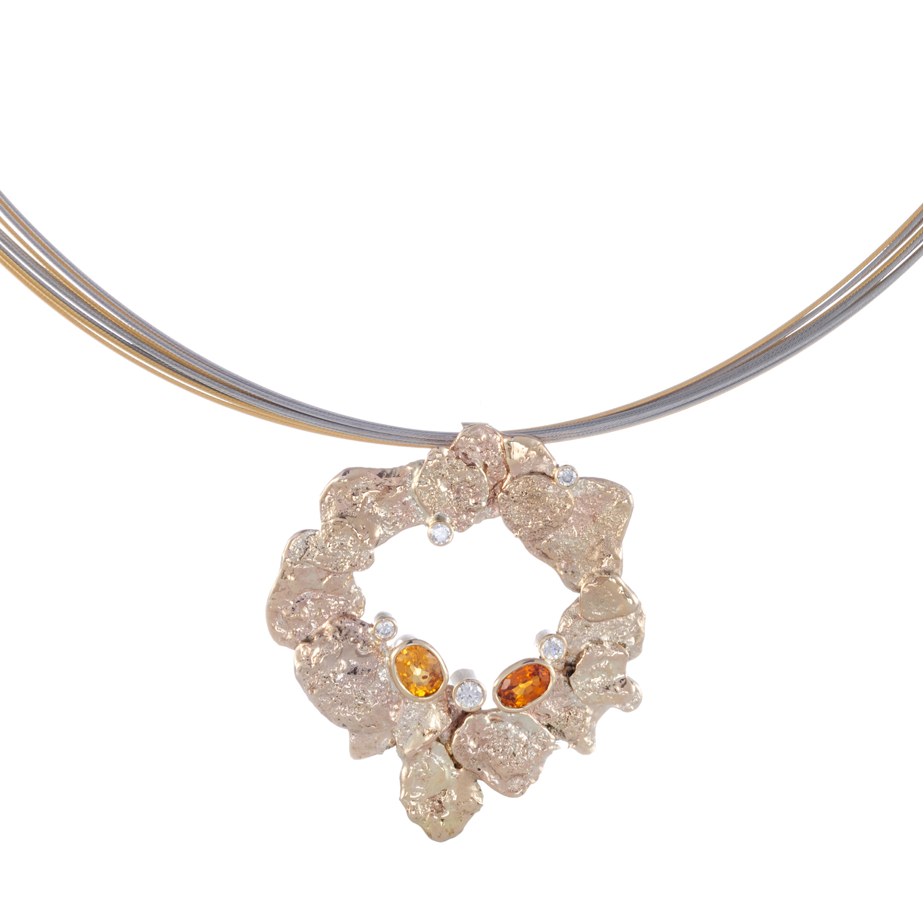 Nuggets of warm recycled gold with orange Sapphires and Diamonds set into the organic design  can be worn on a chain or wire(sold separately) even beads  AVAILABLE  .
