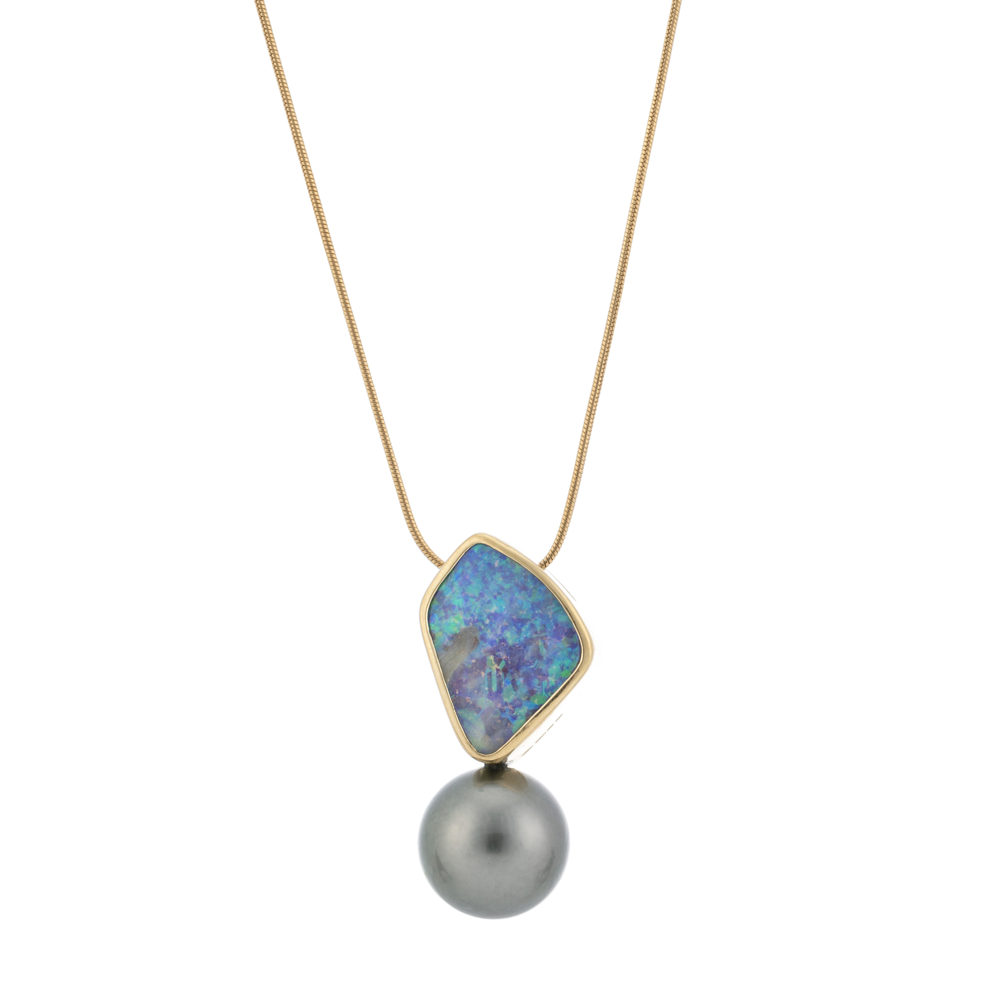 Australian Boulder opal stunning colour play with a Tahition pearl in 18ct yellow gold with snake chain  AVAILABLE