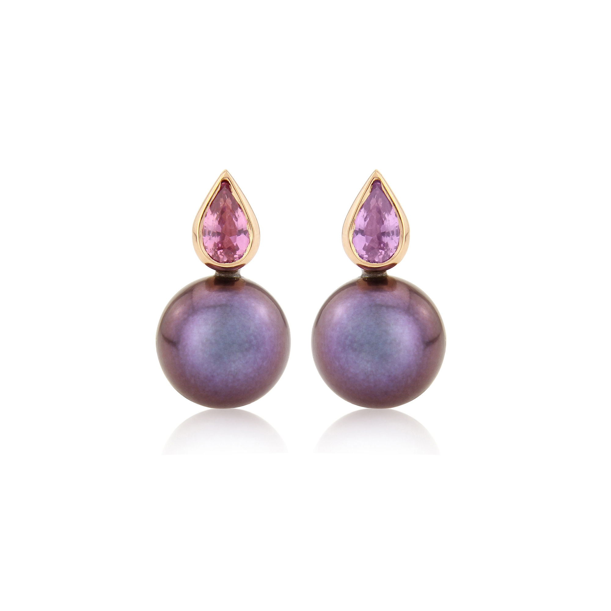 Mismatched sapphires compliment the natural freshwater pearls ,set in 9ct yellow gold studs  SOLD
