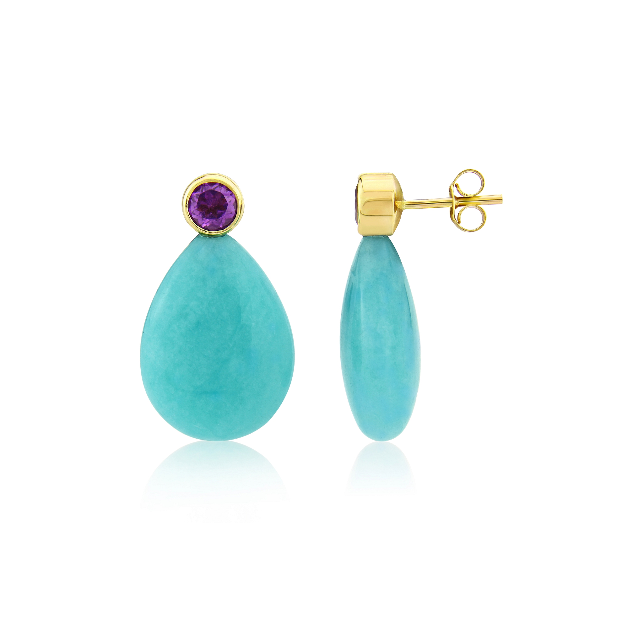 Amazonite and Amethyst in Gold  SOLD