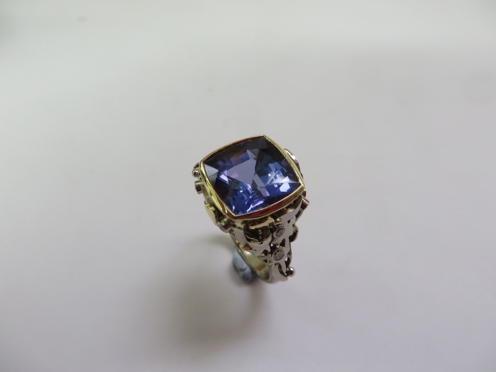 Tanzanite and Diamond dress ring Commission Designed and hand made in 18ct Gold by QV Jewellery.