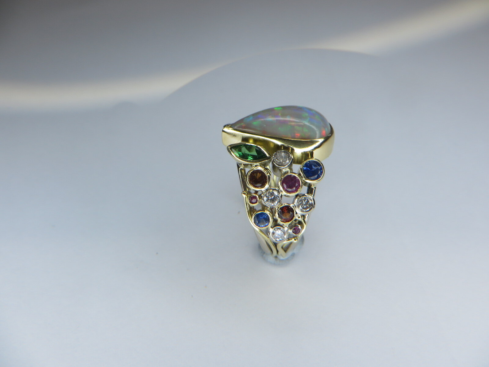 Side view showing off some of the Gemstones in this stunning piece.