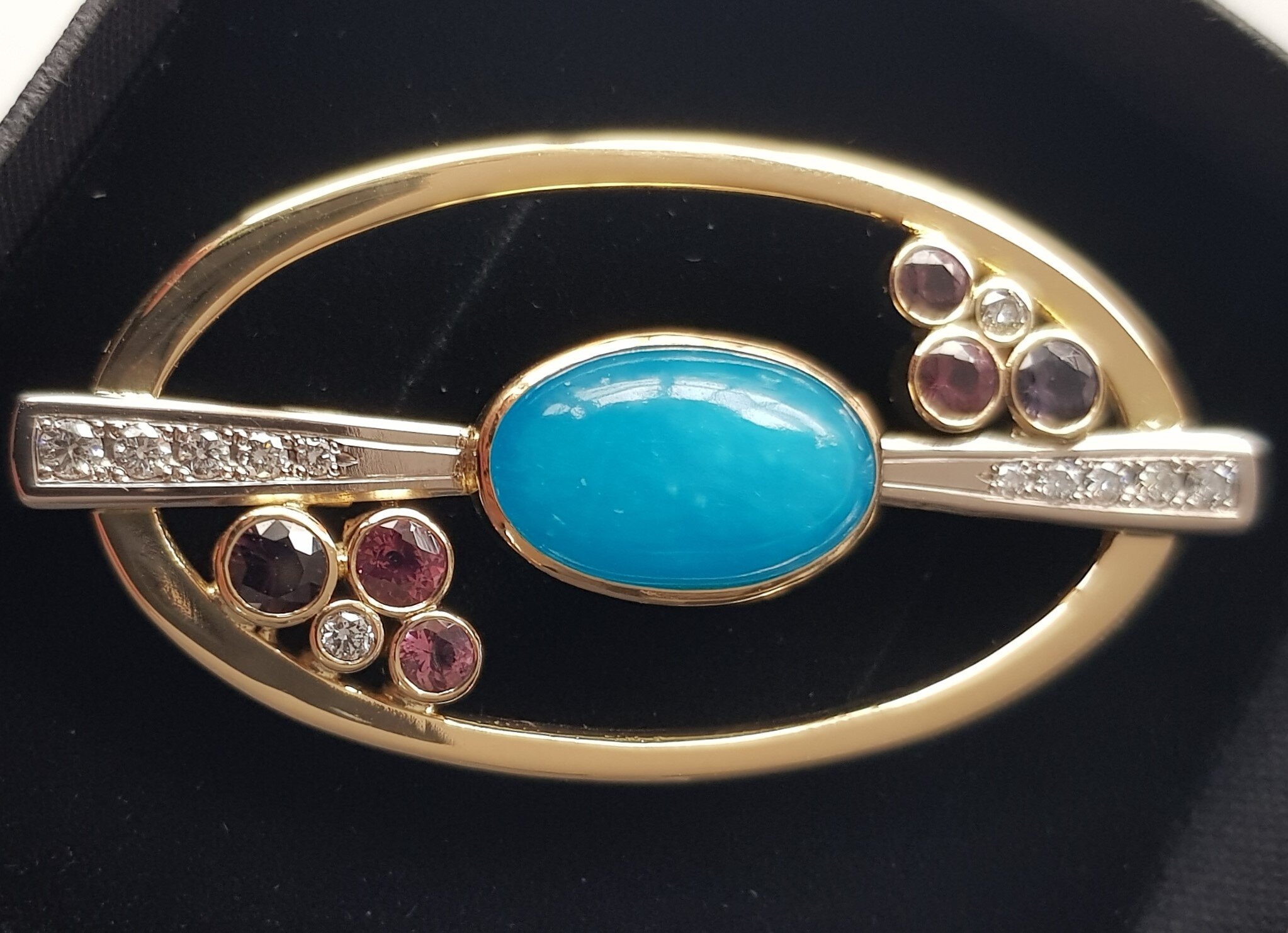 Hemimorphite Diamond and Spinel Brooch/Pendant Commission hand made in 18ct Gold and designed by QV Jewellery.