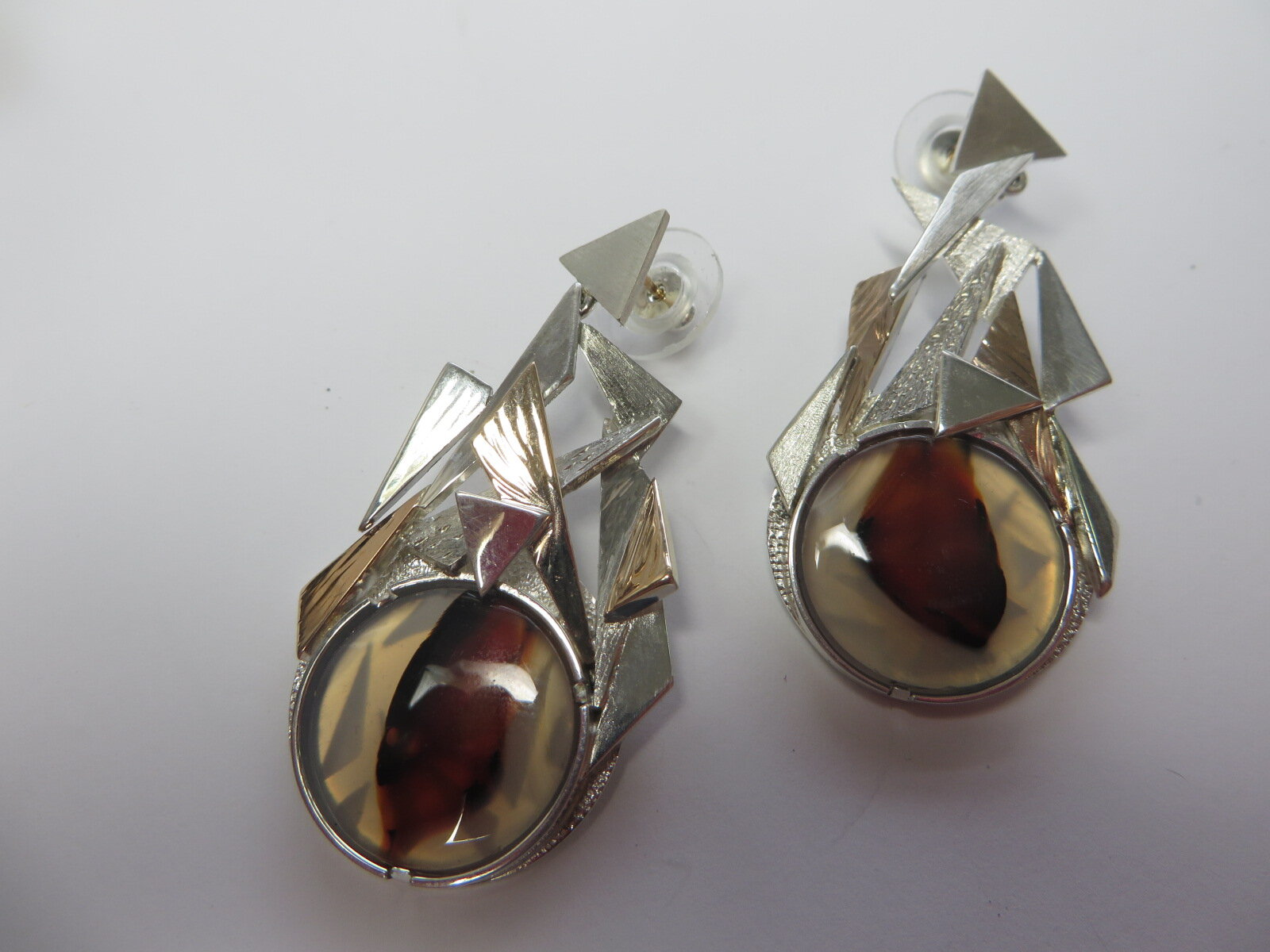 Agate Earrings Commission ,hand made in Silver and 9ct Gold by QV Jewellery.