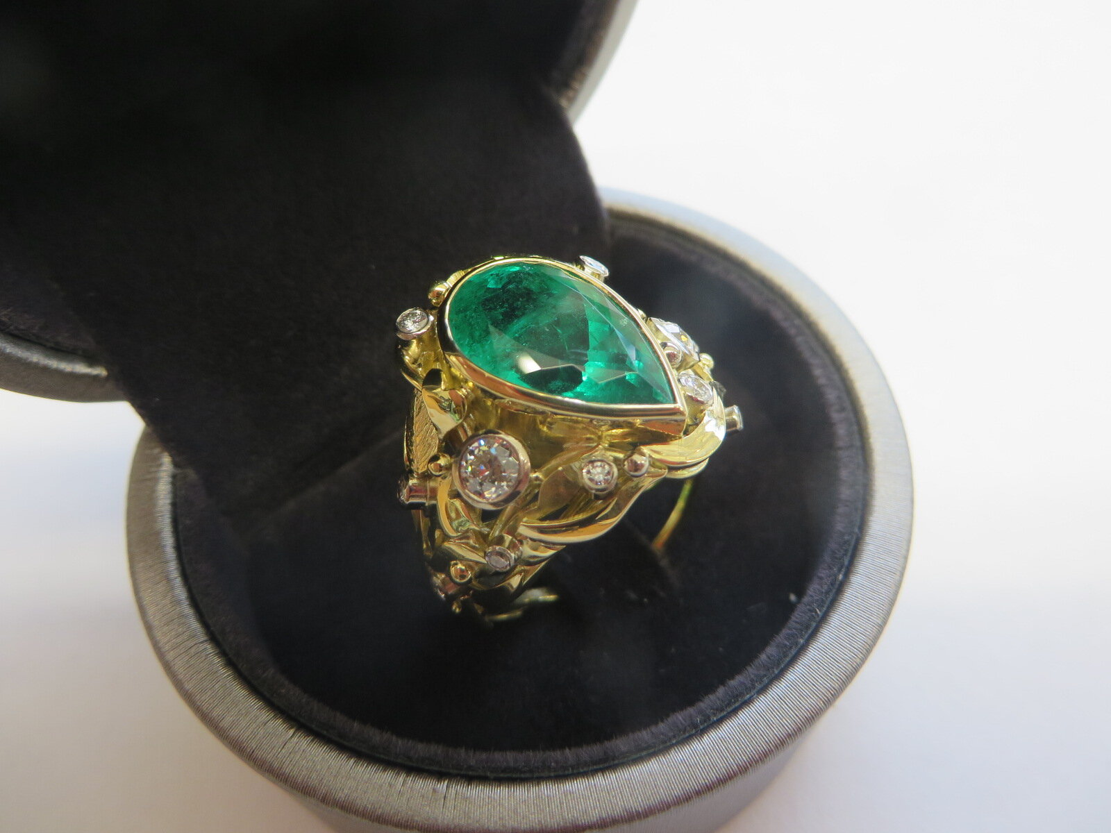 Another view of the completed Commission hand made in 18ct Gold,  design by Quo Vadis Jewellery.