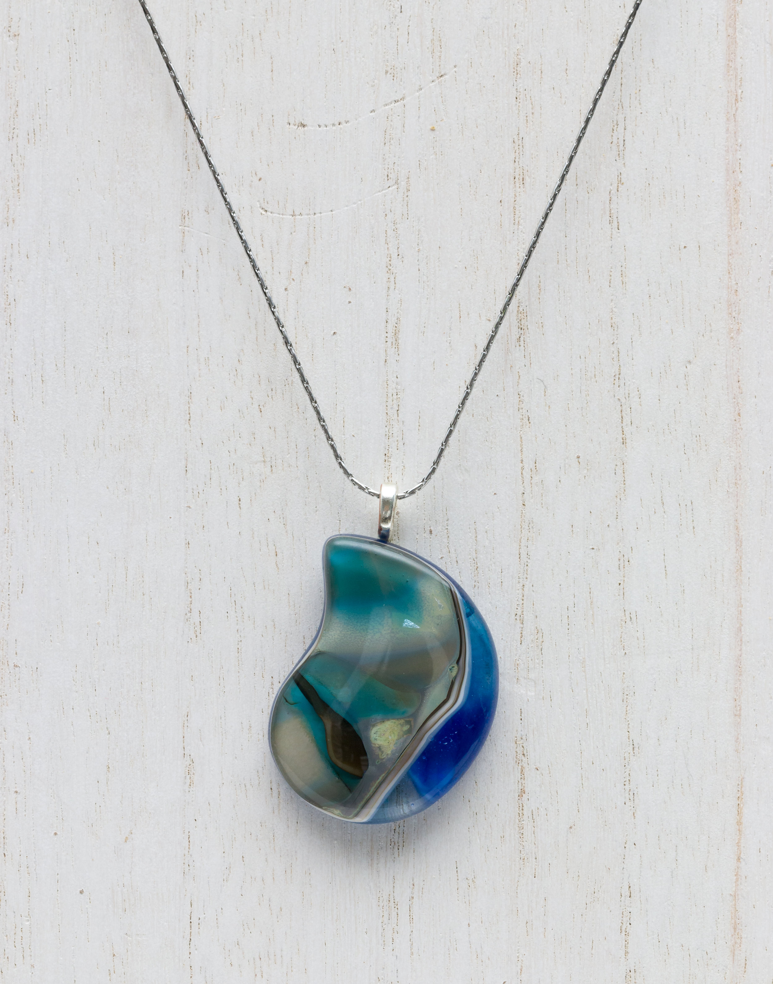 Teardrop Fine Silver Reactive Glass Pendant