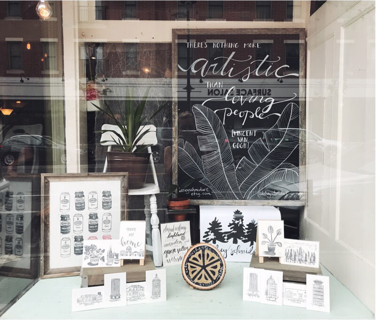 Kelsey Schmid - Little Button Craft June 2018 Featured Artist Window DIsplay