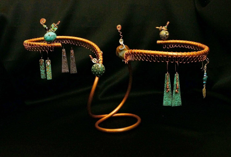 WIld Fern Heart glass lampwork bead for Jewelry Design
