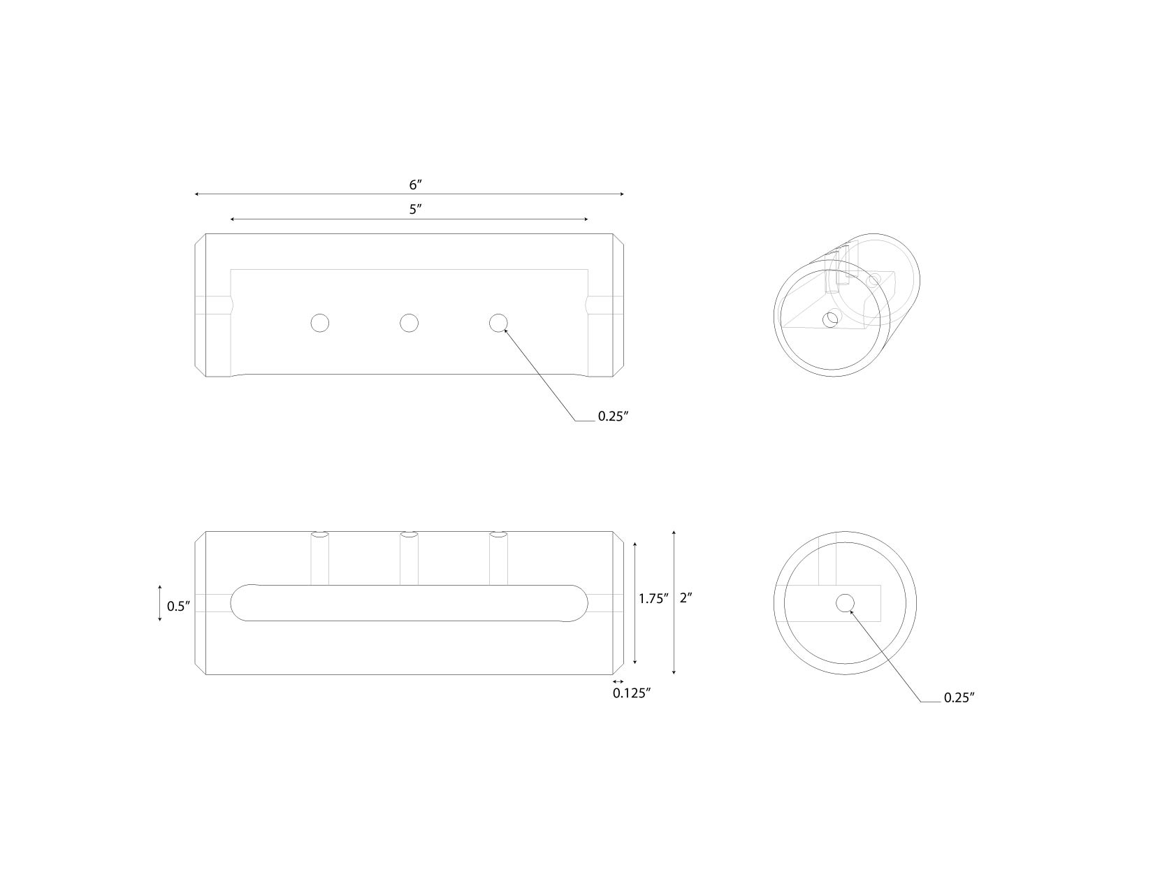 technical drawing of aluminum machined connection hardware