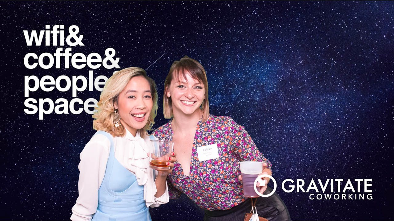 Gravitate members Camille and Colleen in the Polite in Public photobooth