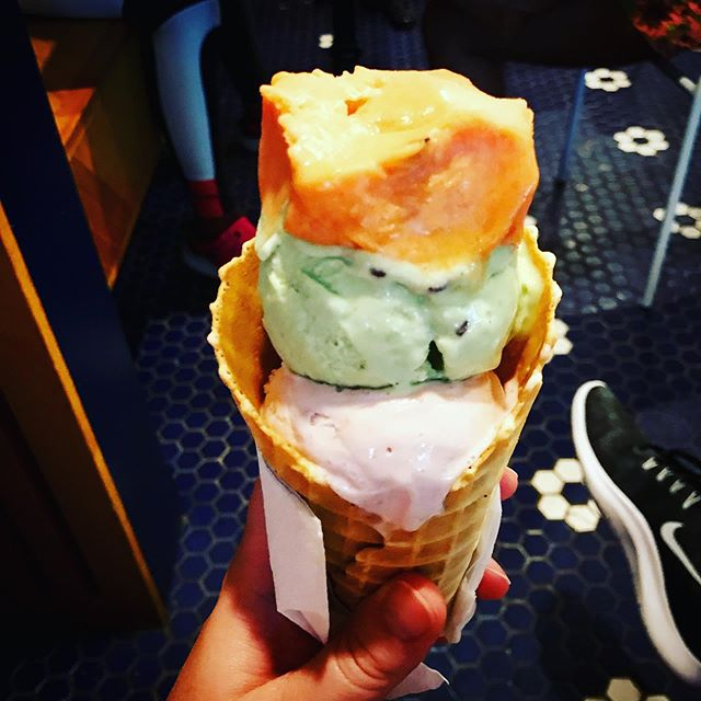 There is always room for ice cream. It goes in a different tummy compartment. 🍦 #nationalicecreamday #iknowimadaylate . . . . #iscreamforicecream #icecream #watermelon #strawberry #basil #lemoncurd #pistachio #blackberry #harlem #nyeats #heatwave