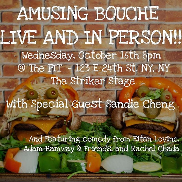 Do you like comedy? Do you also like cupcakes? Of course you do you're only human! Check out @amusingbouchepod live and in person this Wednesday at @thepitnyc with @adamhamway @eitanthegoalie @rachelchada and special guest @sandiepantss of the upcoming @impostersshow #livecomedy #livepodcast . . . . #cupcakestyles #funnyfood #decoratingcupcakes #standupcomedy #improvcomedy #laughterisgoodforthesoul #eatdrinkandbemerry #comedyclub #jokes😂