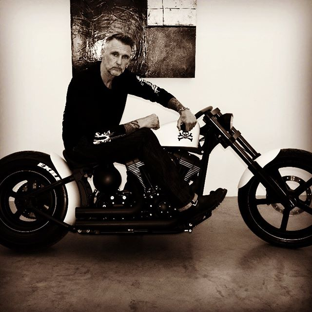 Known this cat for over 25 years,lots of fun over the years and still my favorite bike builder,style that never goes out of style. Exile cycles. #tbt #choppers #bikebuilder #fashion #mensfashion #custommotorcycle #sturgis #leather #biker #silversmith #rockstar #metal #heavymetal #v22la @exilecycles @v22la