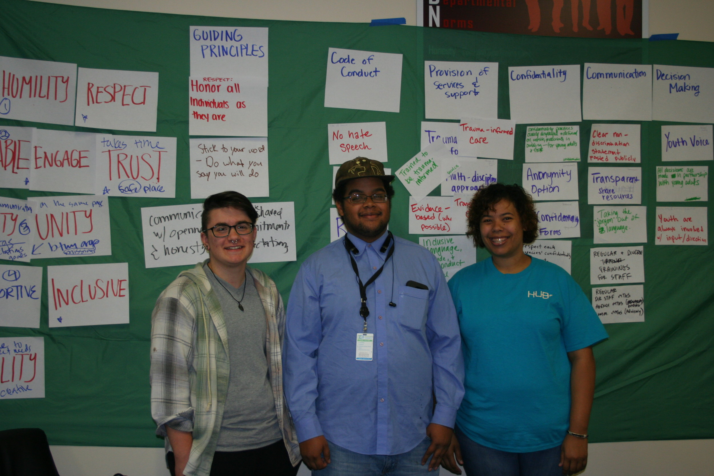 Members of The HUB community gathered over the winter in a series of planning retreats to map out how partners, young adults, and community members would work together to bring the vision of the Young Adult Resource Center to life.