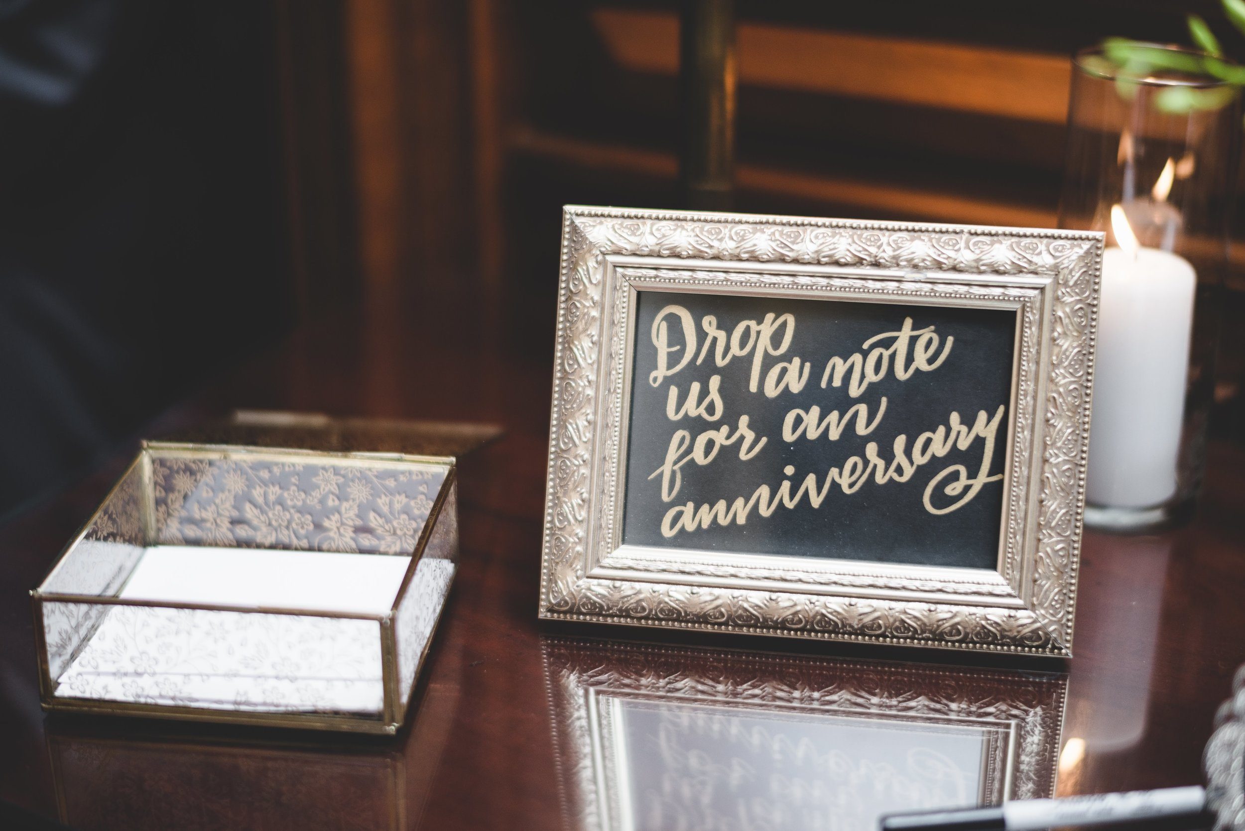 Calligraphy anniversary sign for wedding at Bolling Haxall House in Richmond Virginia as shot by Jason Collins Photography.